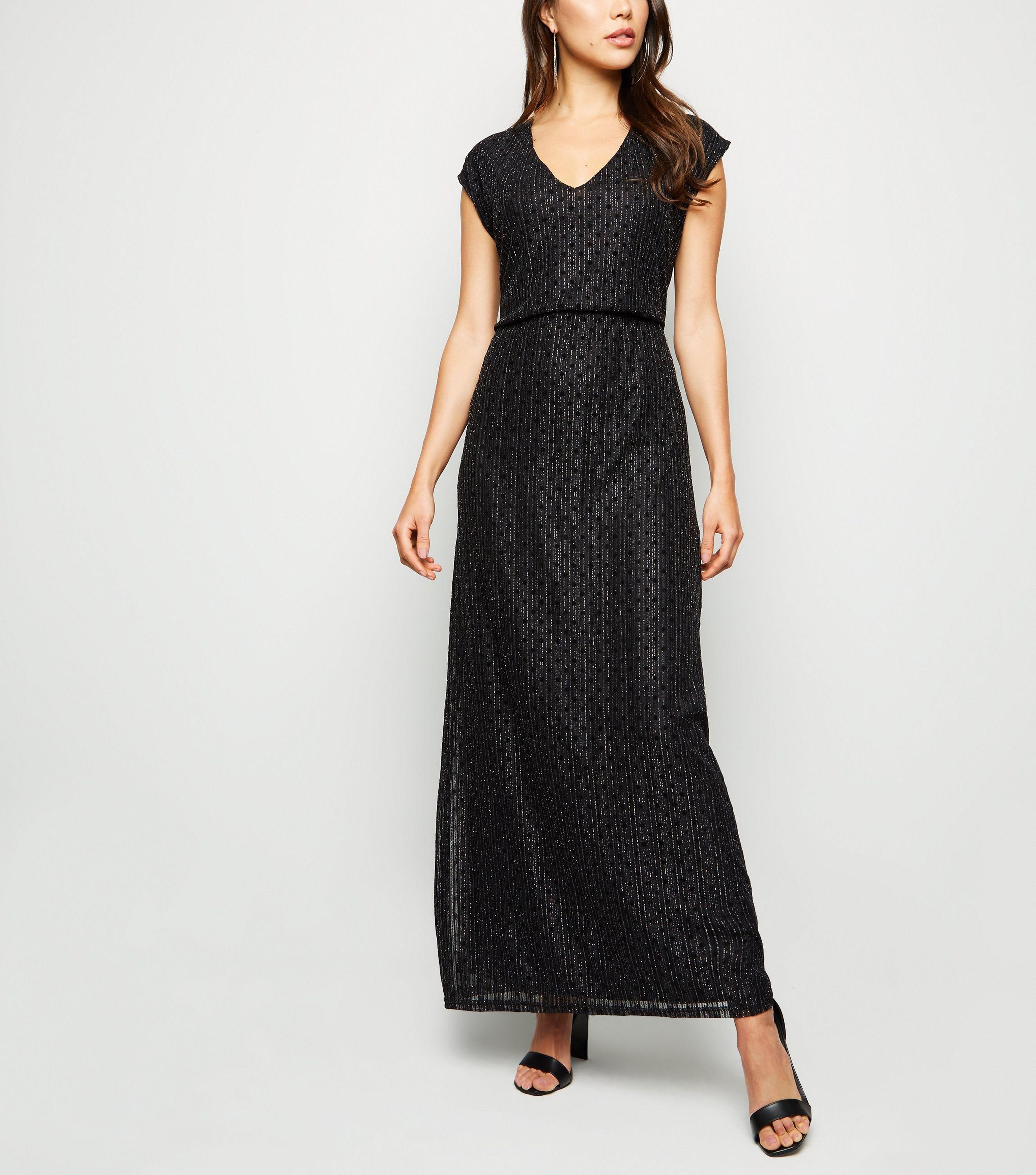 f5b75c84713 Mela Black Glitter Stripe Lace Maxi Dress in Black - Lyst