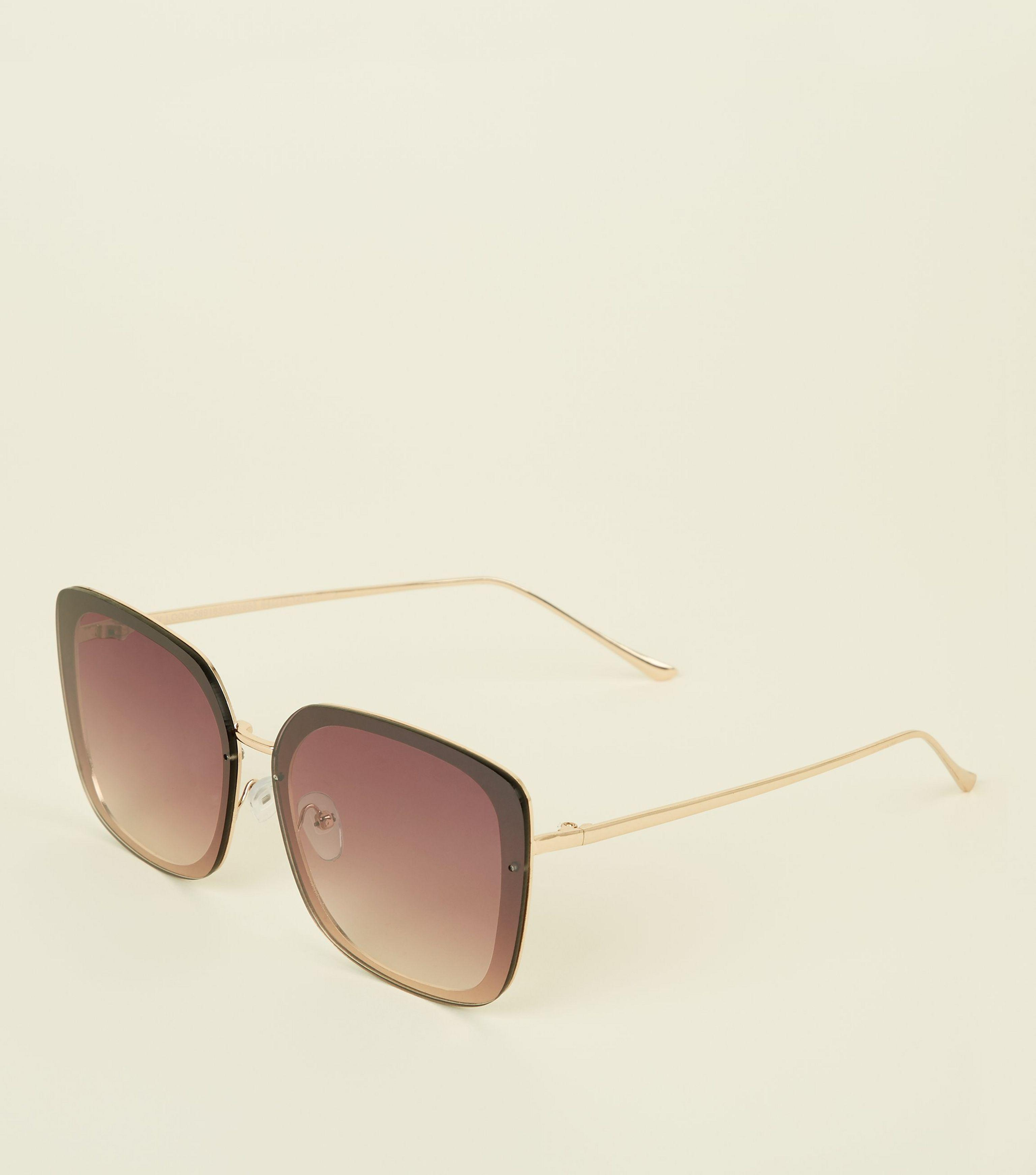 dbff7cd31e29 New Look Gold Oversized Rectangle Rimless Sunglasses in Metallic - Lyst