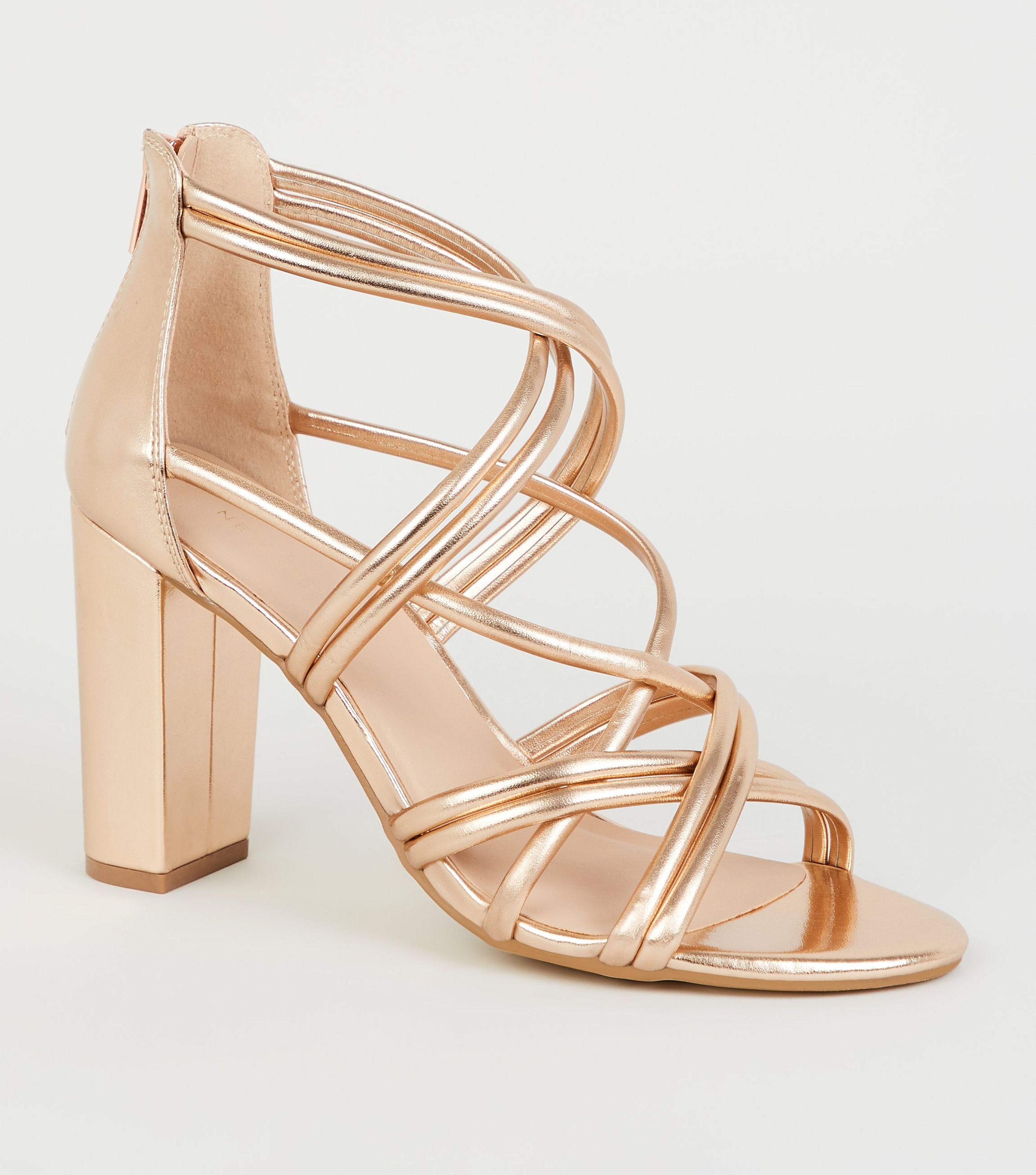 64d04d53f5970 New Look Rose Gold Metallic Block Heel Sandals in Metallic - Lyst