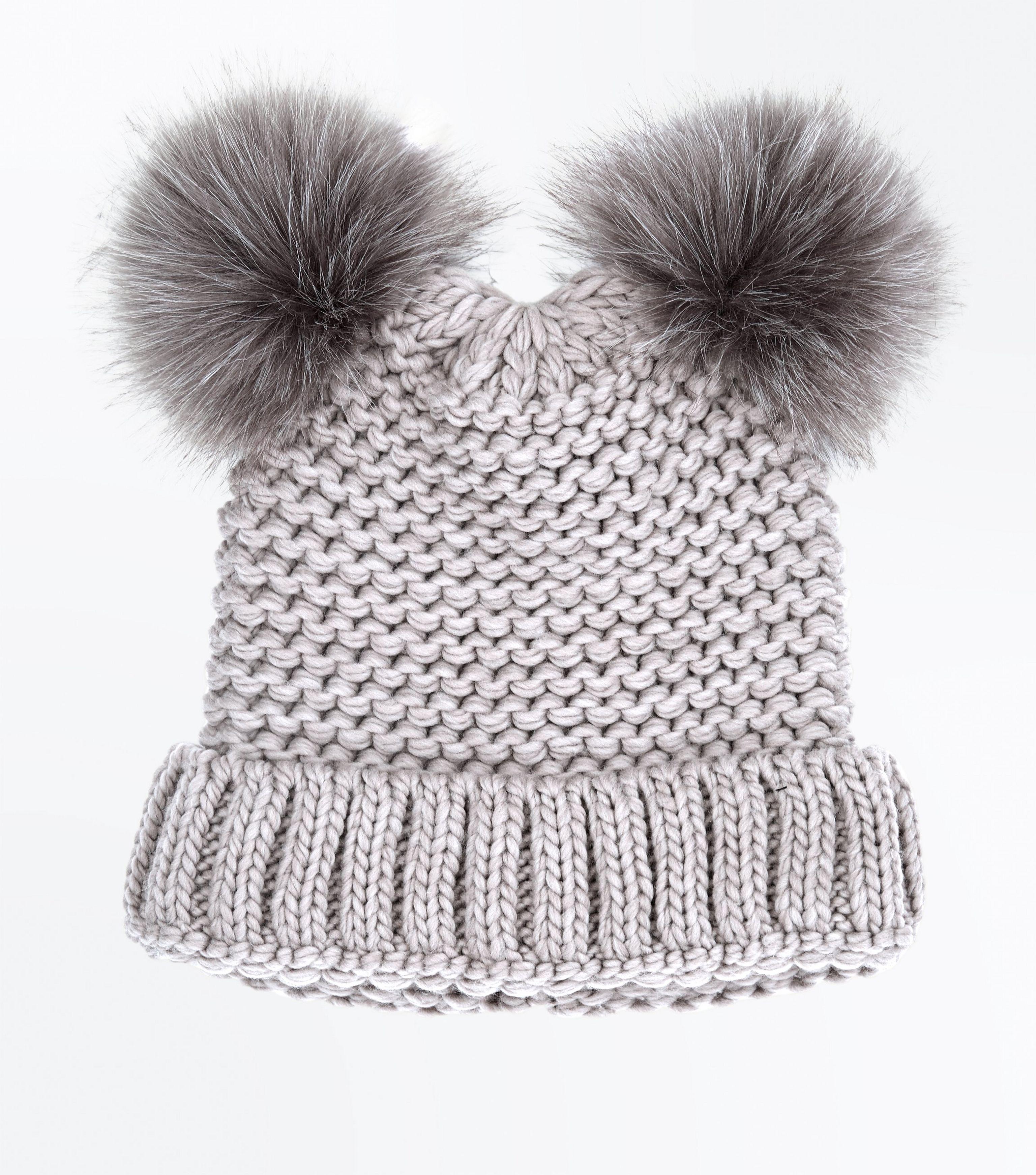 cfcf88d4c9f New Look Mink Double Faux Fur Pom Pom Hat - Lyst