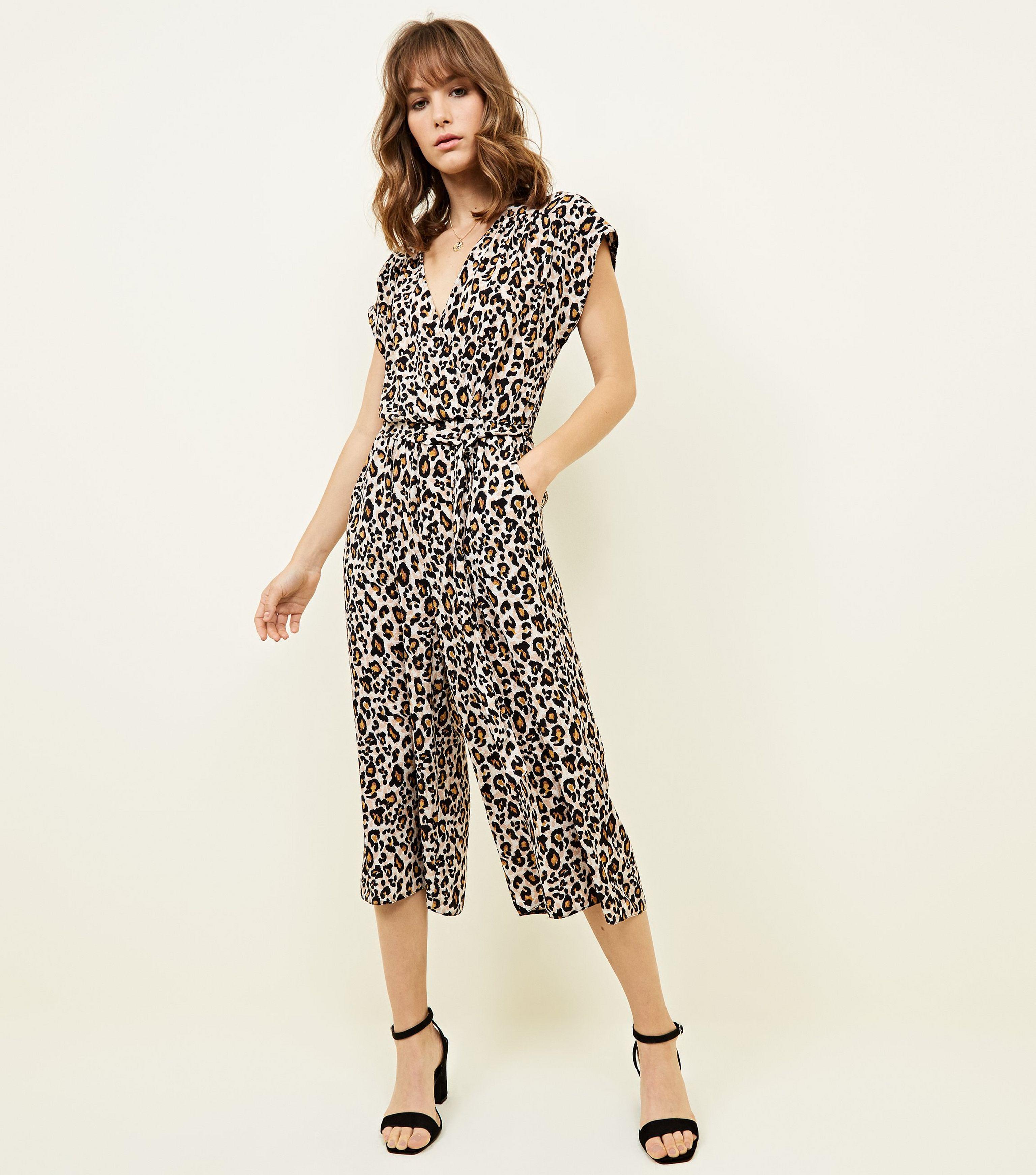 3dda2f94c3b New Look Brown Leopard Print Culotte Jumpsuit in Brown - Lyst