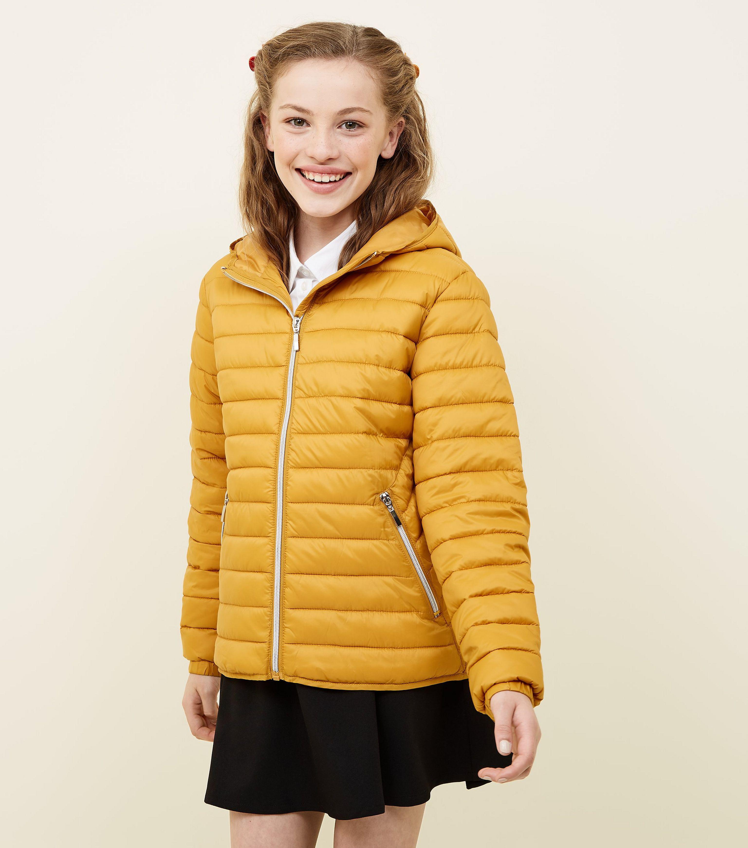 superior materials online brand new Women's Yellow Girls Mustard Lightweight Hooded Puffer Jacket