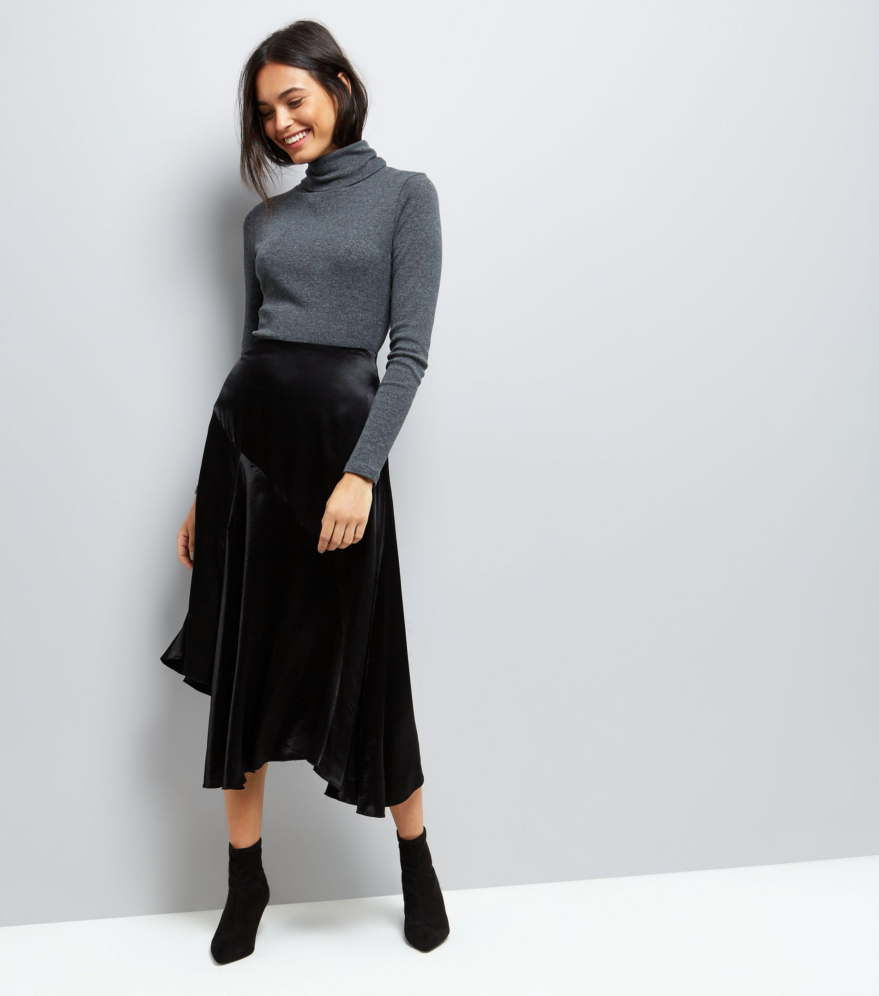 laest technology finest selection new cheap New Look Black Asymmetric Satin Midi Skirt