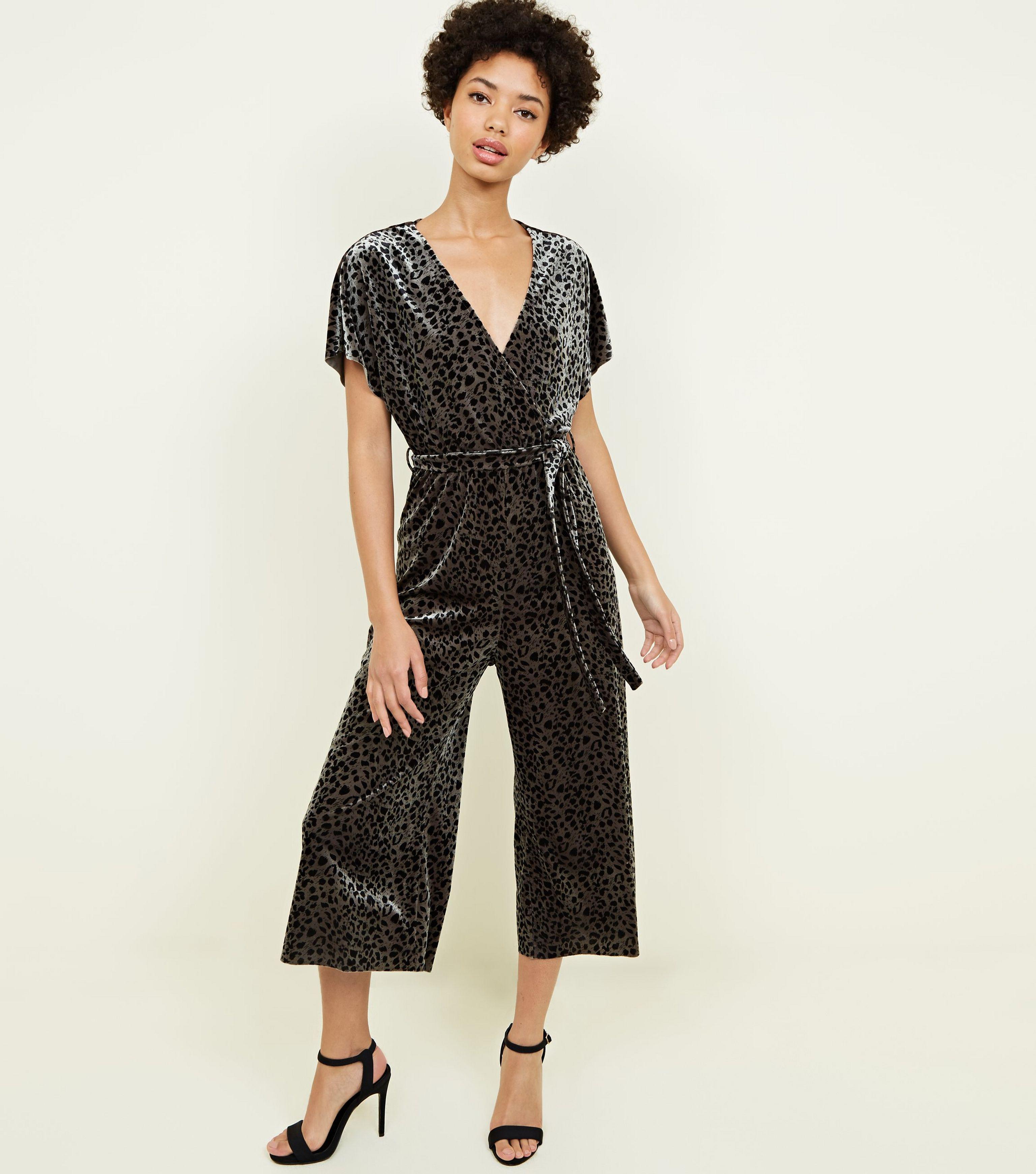 e1f5838b5b New Look Khaki Leopard Print Velvet Wrap Front Jumpsuit in Black - Lyst