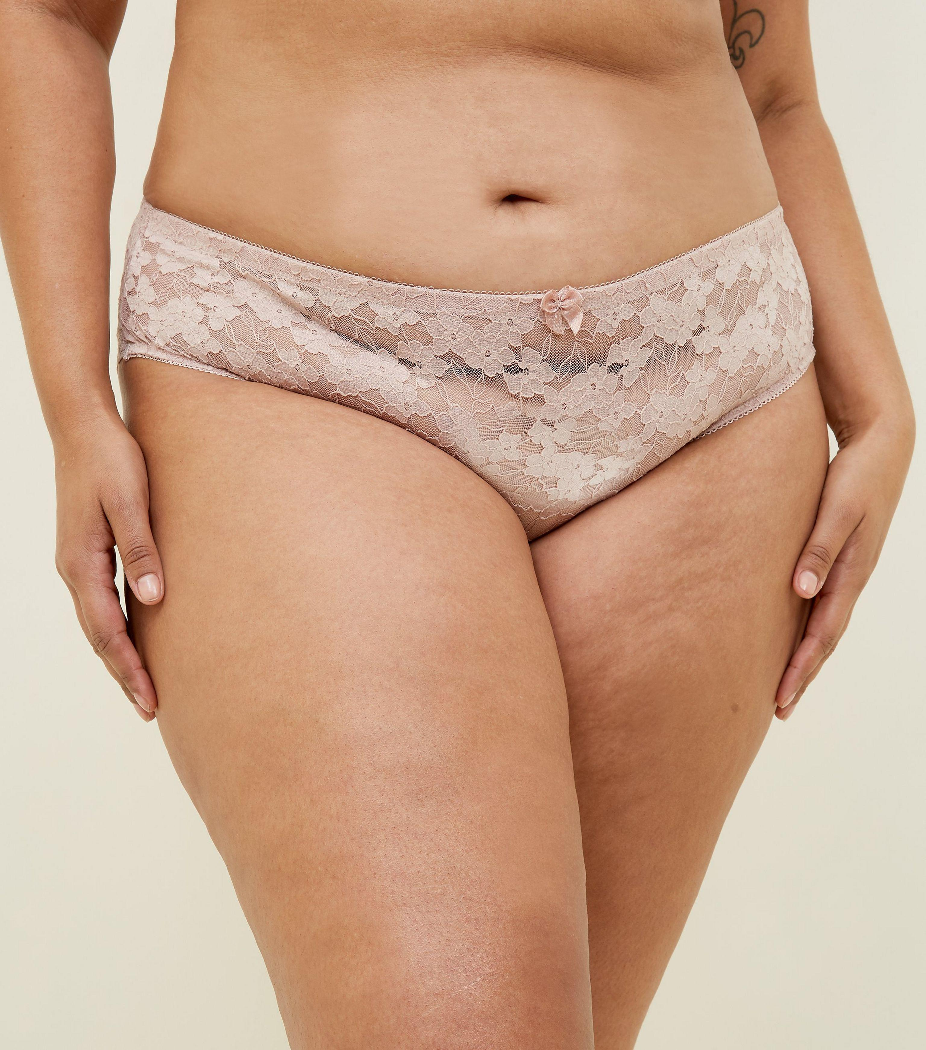 New Look Curves Pale Pink Lace Brazilian Briefs in Pink - Lyst ecd7009d9