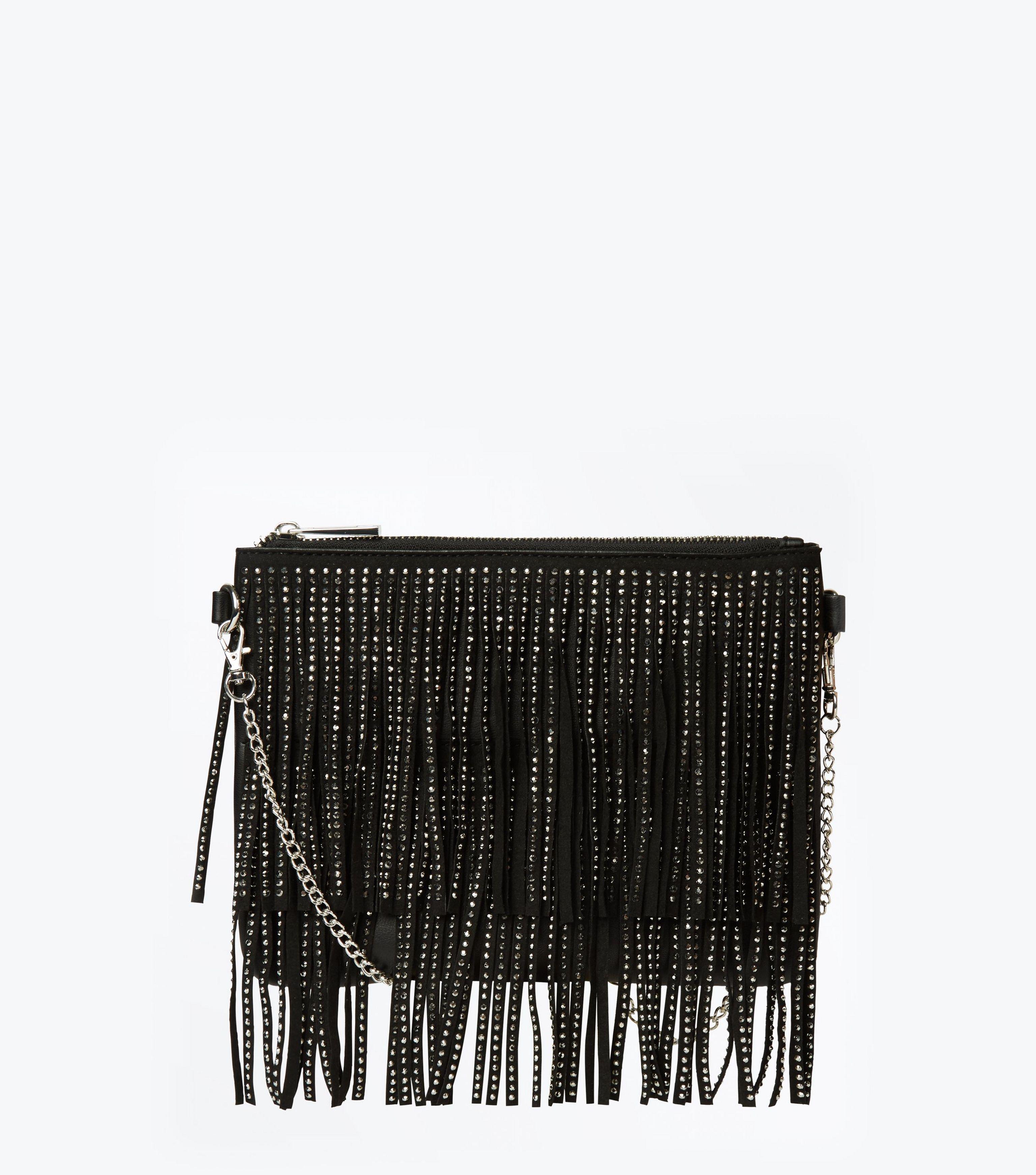 9ad67834c6 New Look Black Diamante Double Fringe Shoulder Bag in Black - Lyst