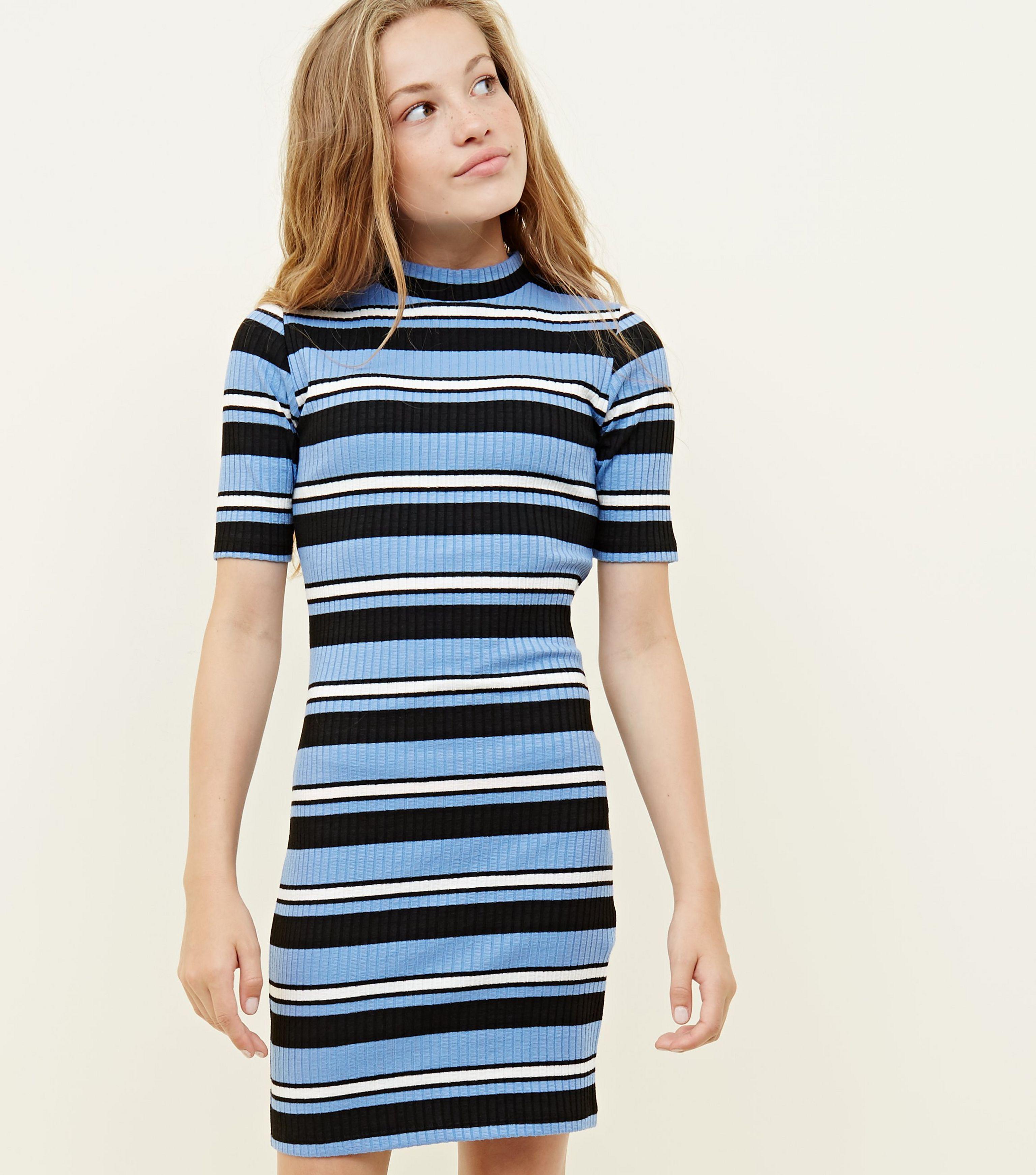 c466bdec2 New Look Girls Blue Stripe High Neck Bodycon Dress in Blue - Lyst