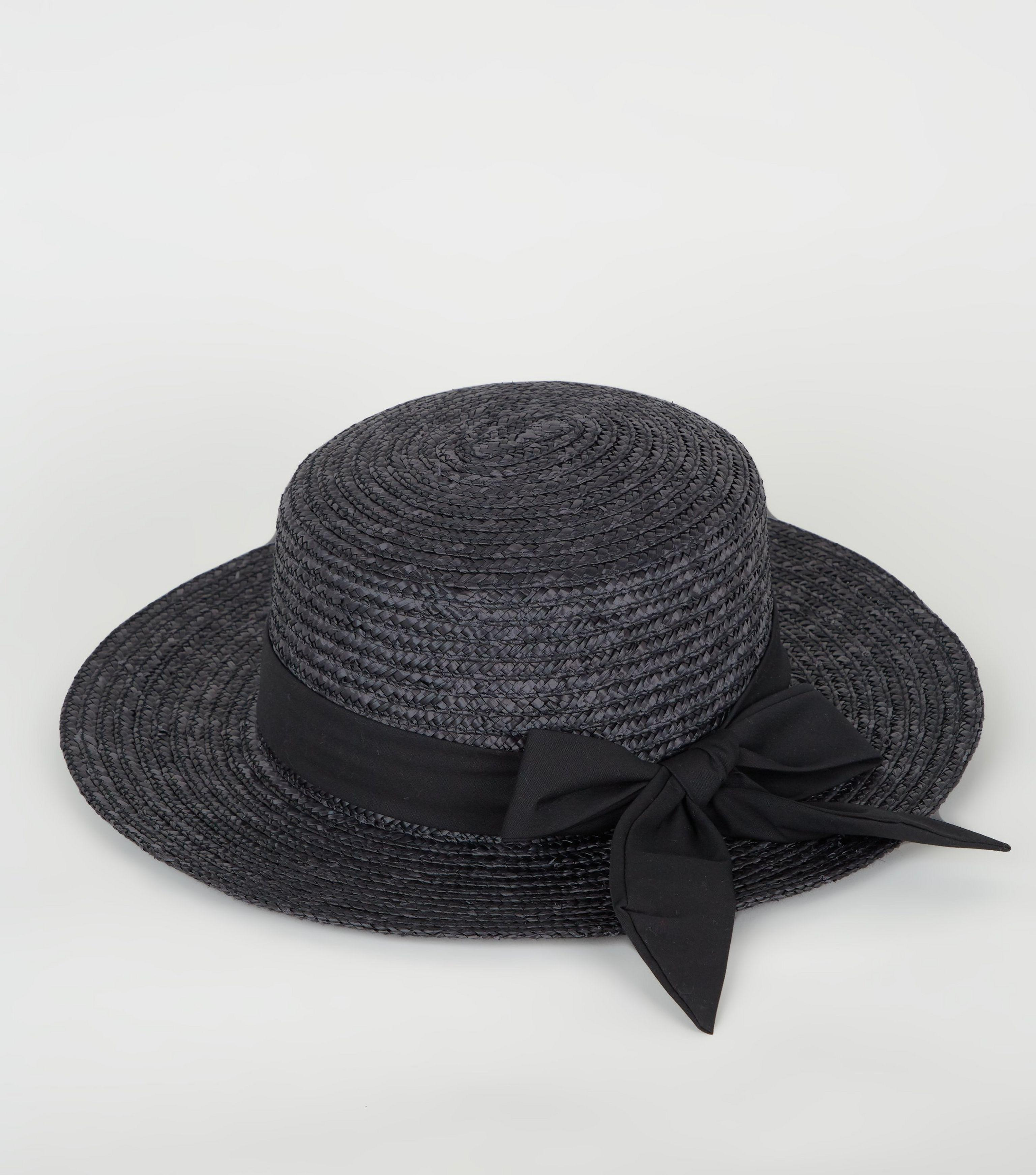 fa2f250c New Look Black Woven Straw Effect Boater Hat in Black - Lyst