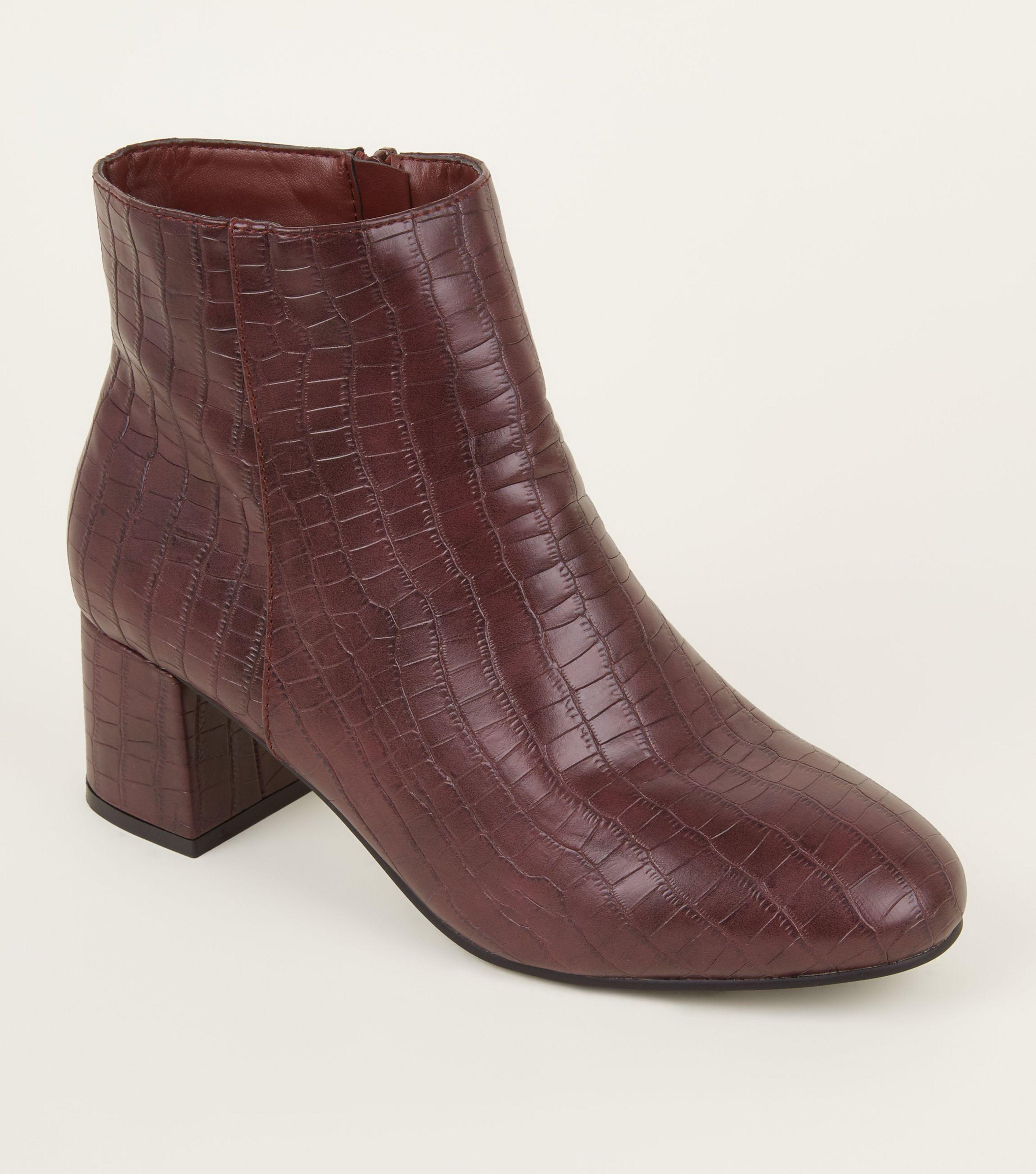 1033d55aae19 New Look Wide Fit Dark Red Faux Croc Block Heel Ankle Boots in Red ...