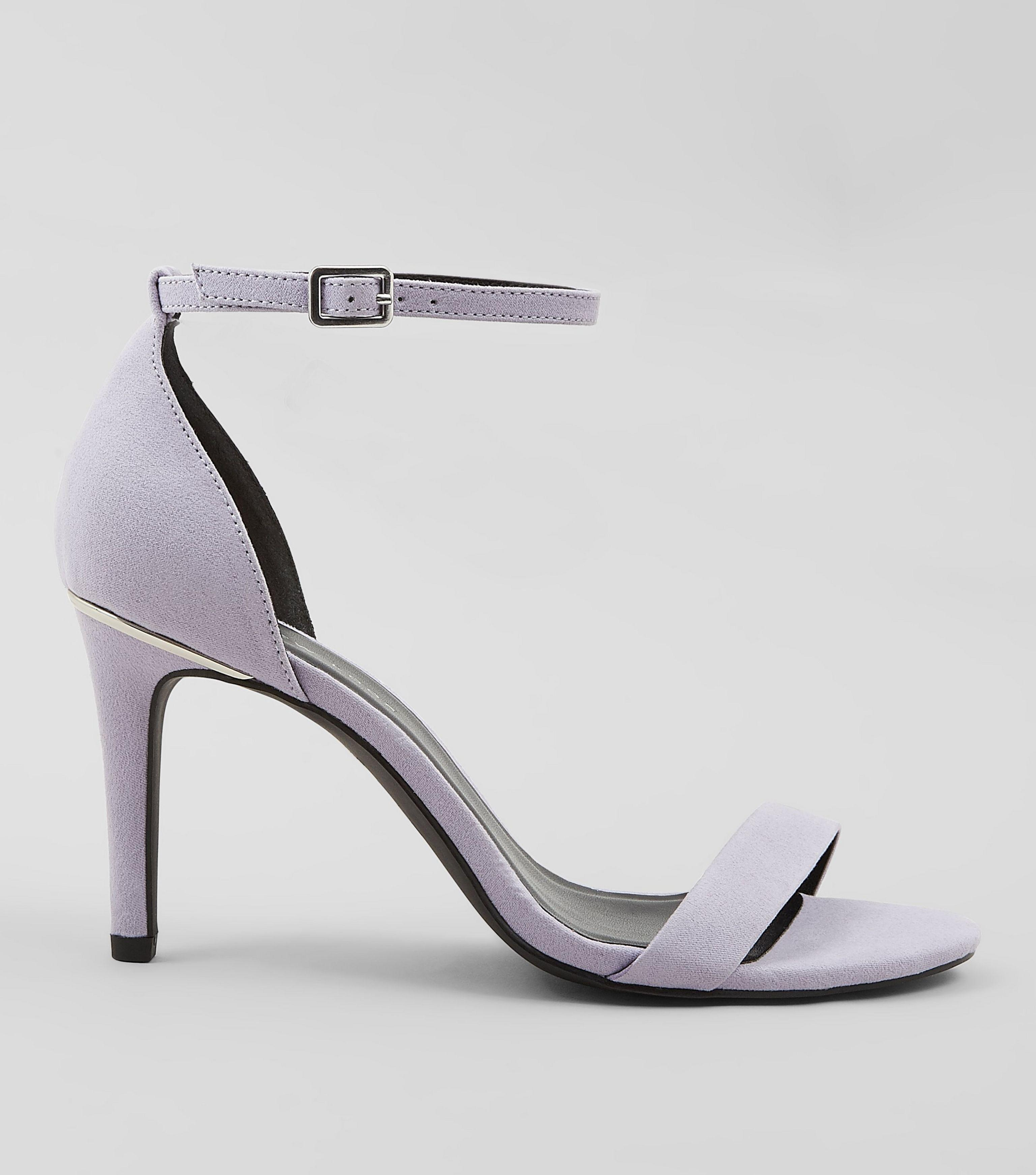 65eec1a972d8 New Look Wide Fit Lilac Suedette Metal Trim Ankle Strap Heels in ...