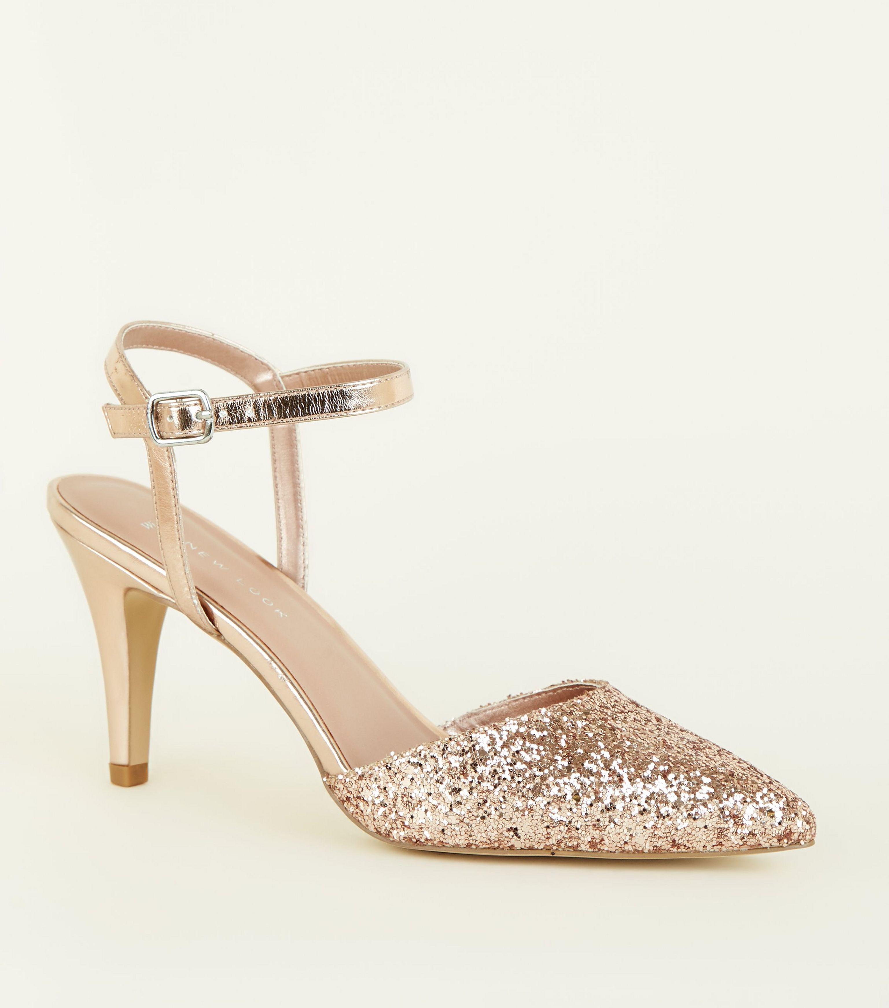 5282063edfec New Look Wide Fit Rose Gold Glitter Stiletto Heels in Metallic - Lyst