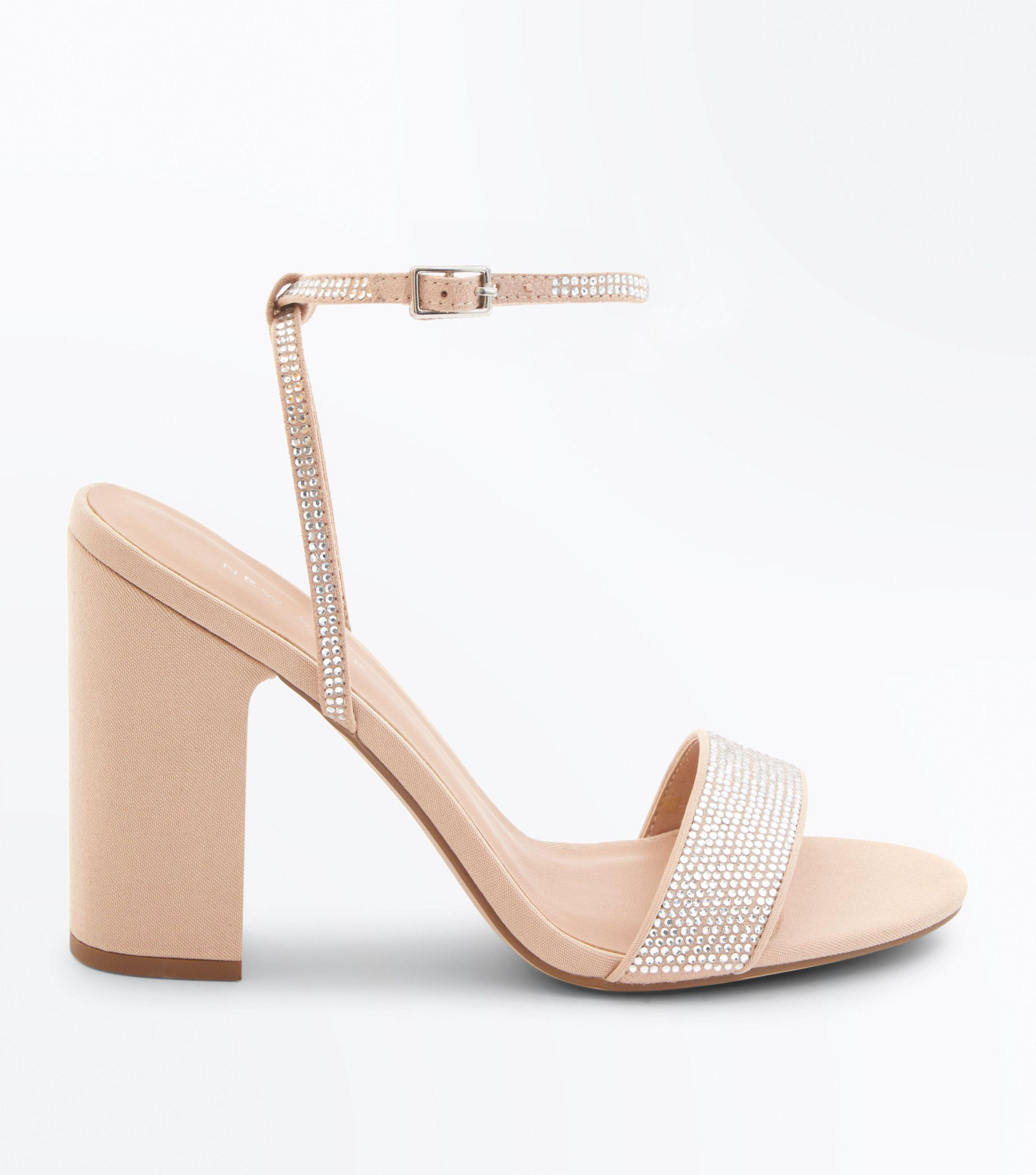 a145f9dc6 New Look Nude Diamanté Strap Block Heeled Sandals in Natural - Lyst