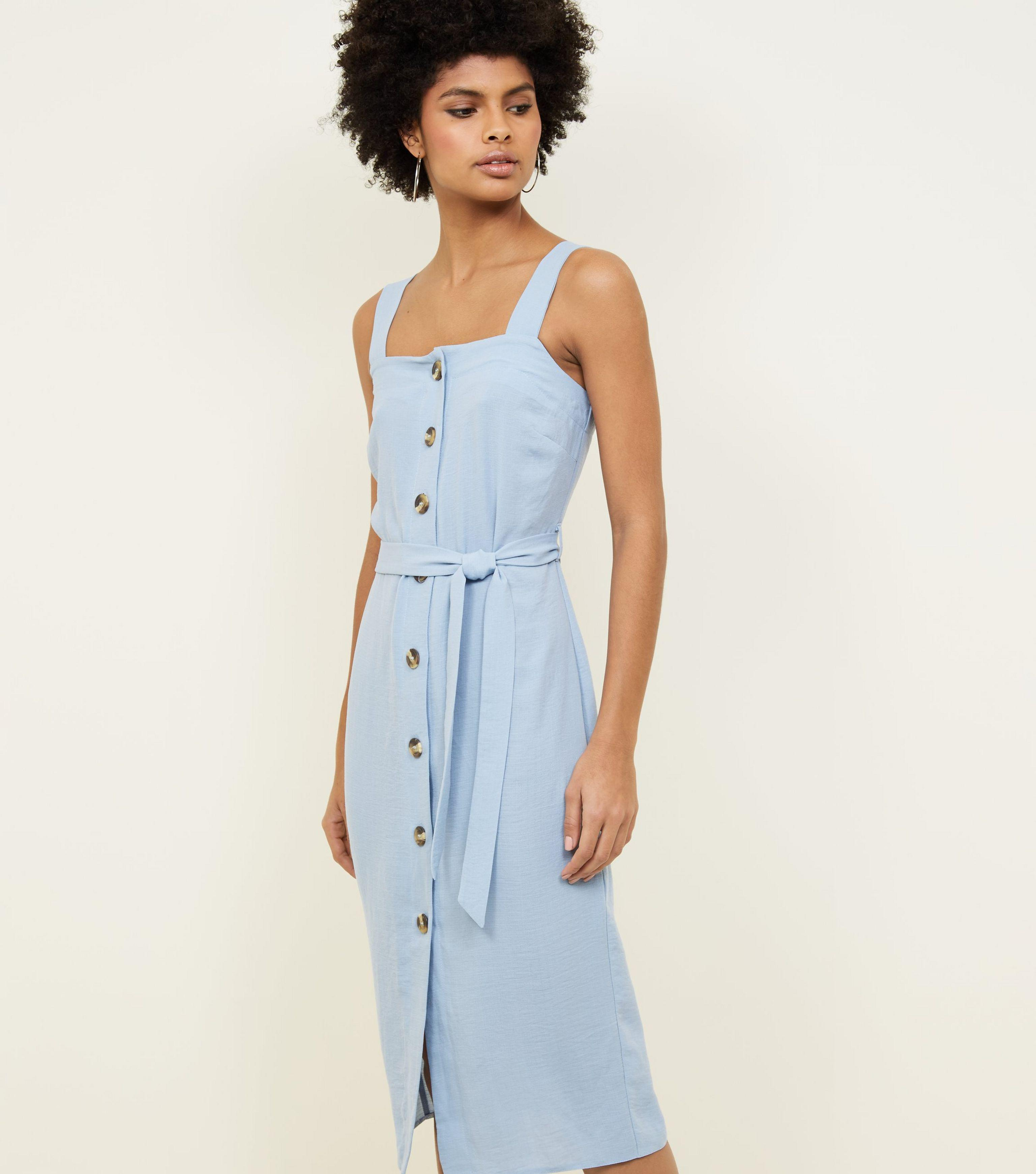 771db69e3ae New Look Pale Blue Button Up Belted Linen-look Midi Dress in Blue - Lyst