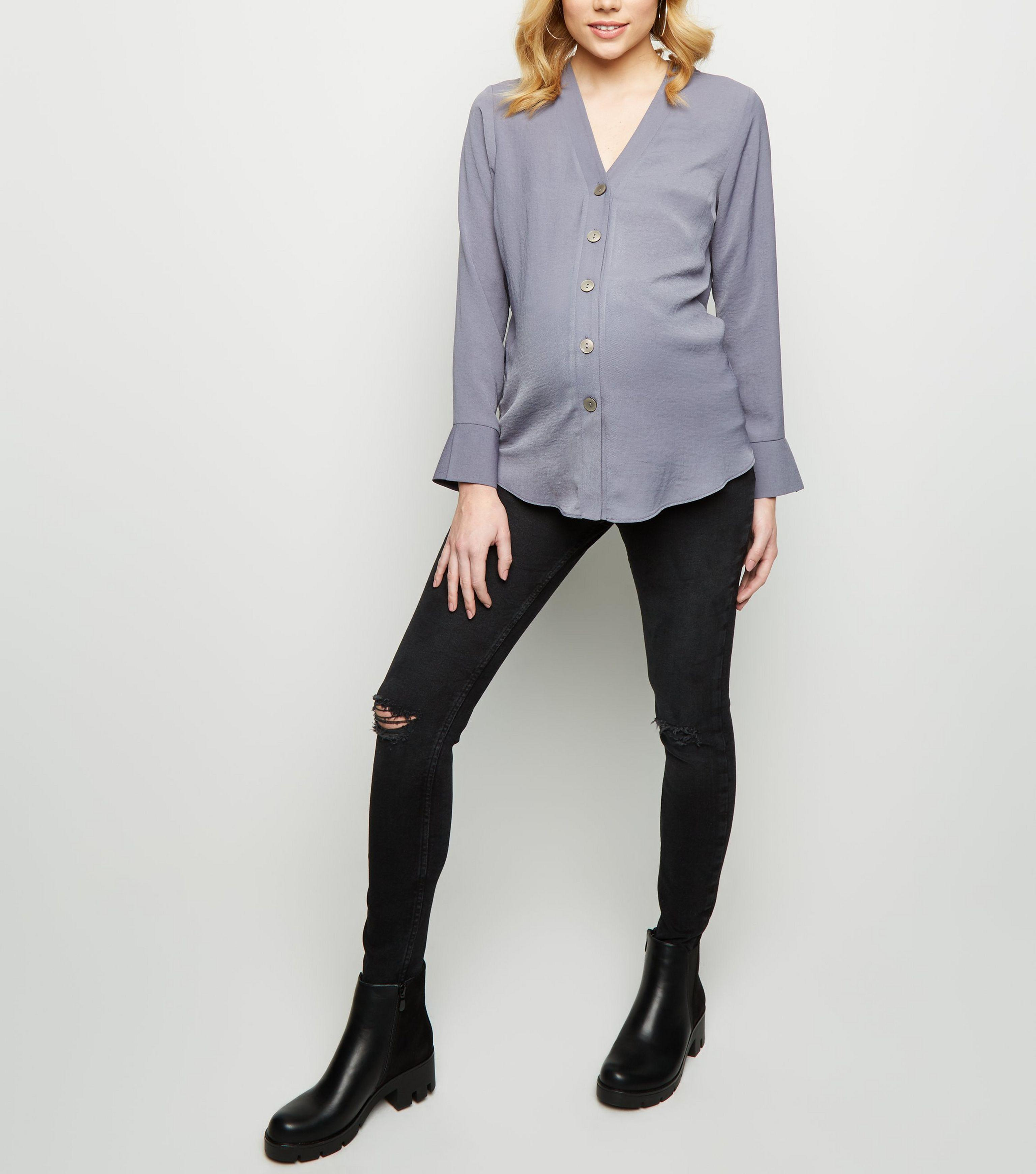 562b3d8e159cc New Look Maternity Black Ripped Knee Over Bump Skinny Jeans in Black ...