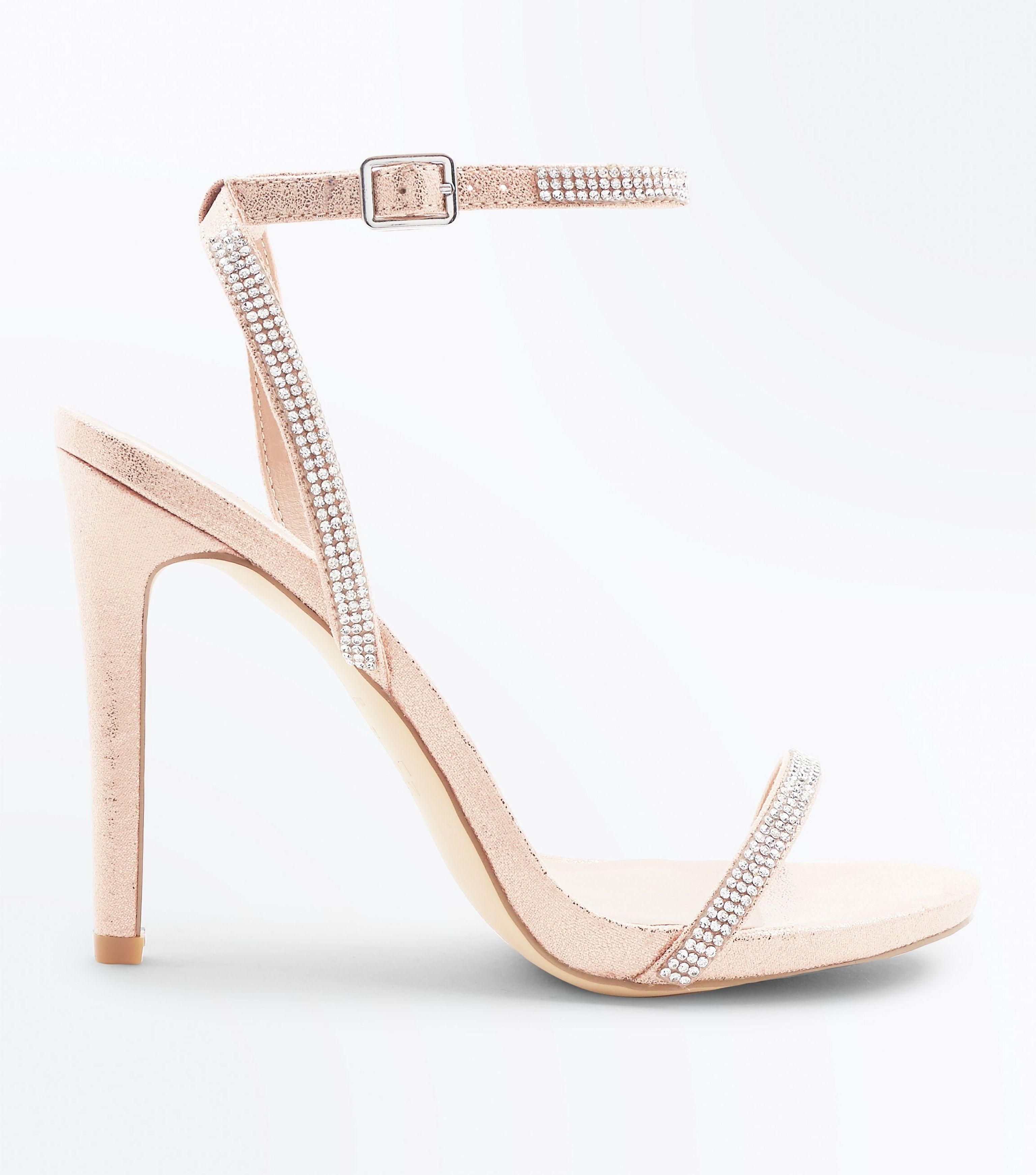 1decacd0ad5d New Look Rose Gold Diamante Embellished Heeled Sandals in Pink - Lyst