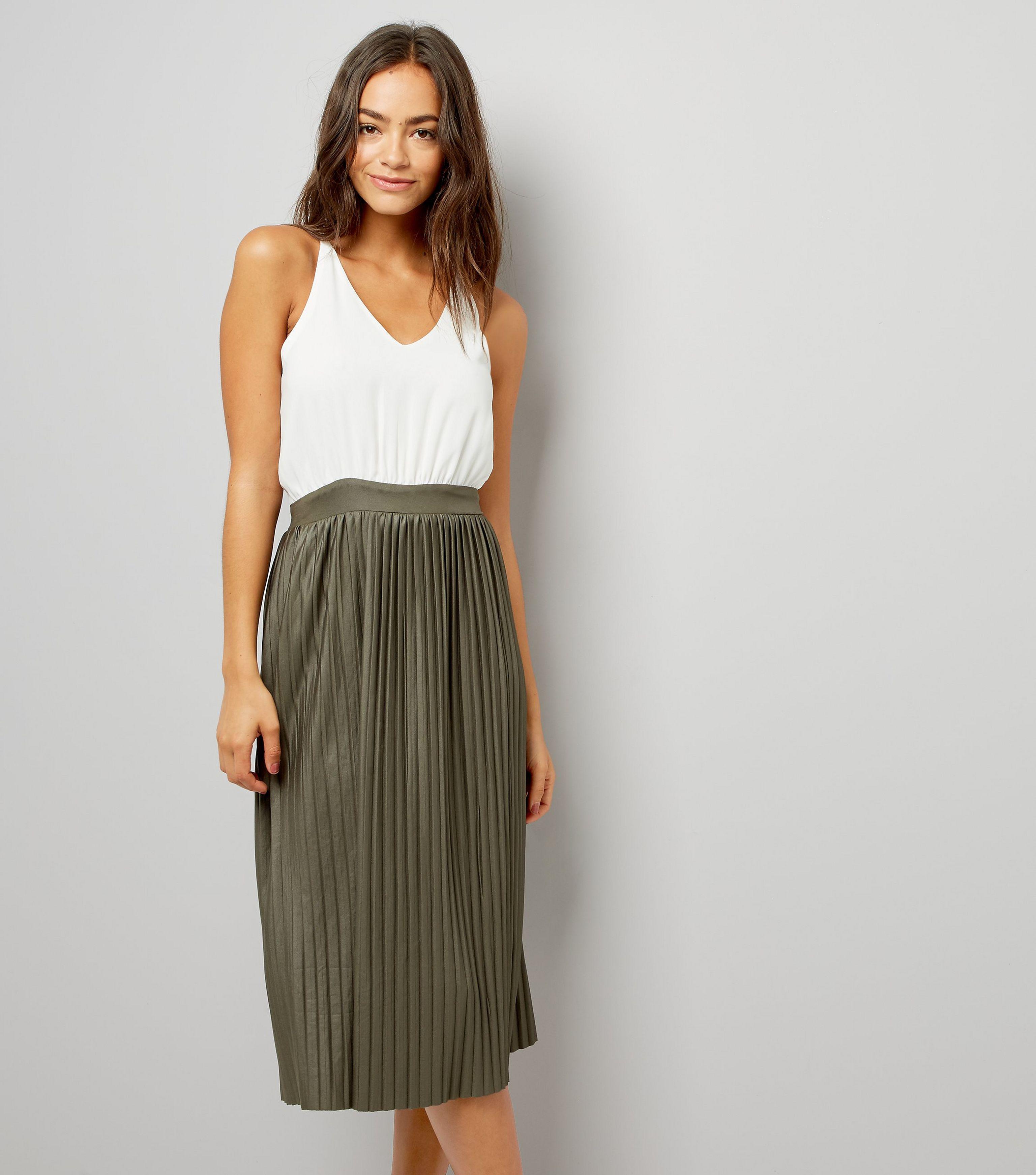 7be8ea353d AX Paris Khaki Pleated Skirt Dress in Natural - Lyst