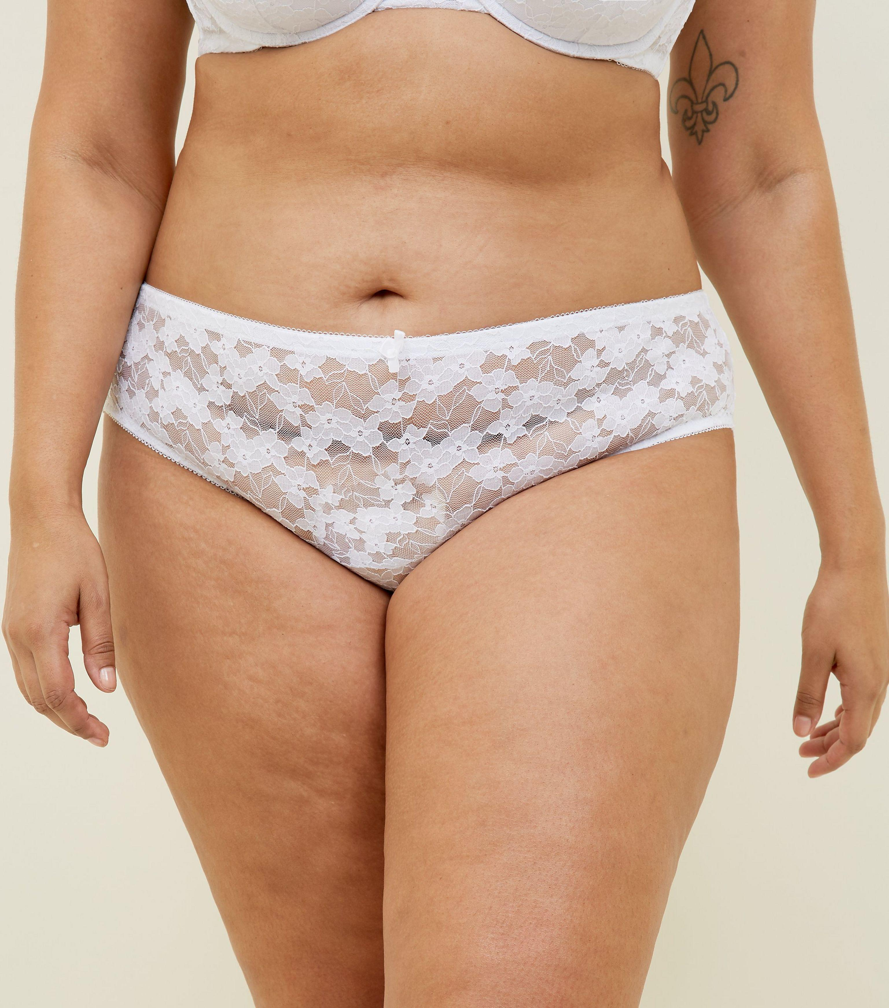 dc0280ddc75 New Look Curves White Lace Brazilian Briefs in White - Lyst