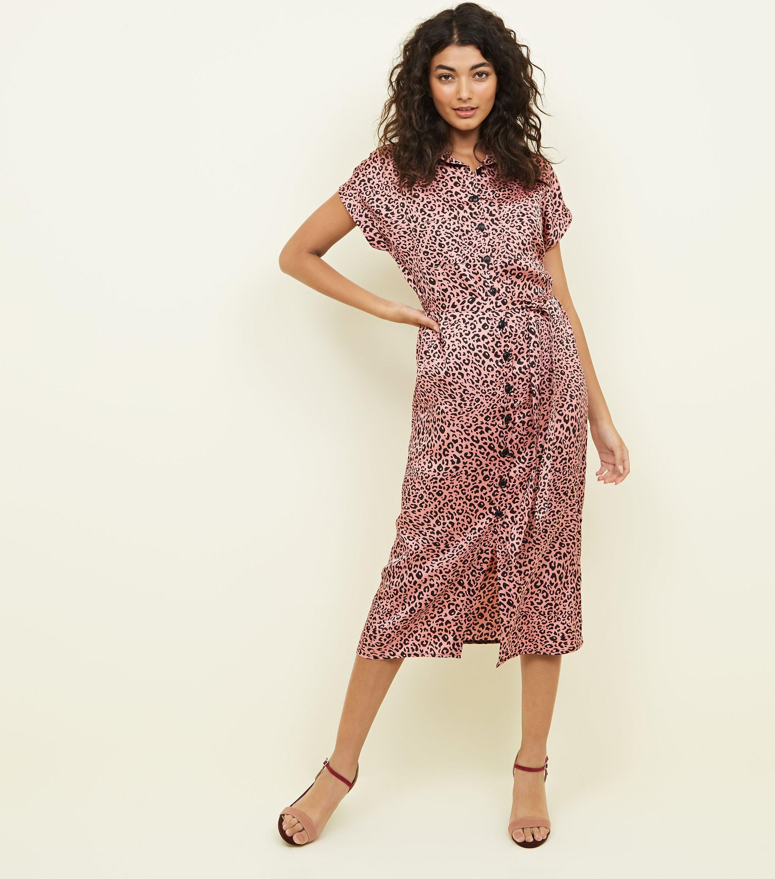 7af5deffd96c New Look Pink Leopard Print Satin Midi Shirt Dress in Pink - Lyst