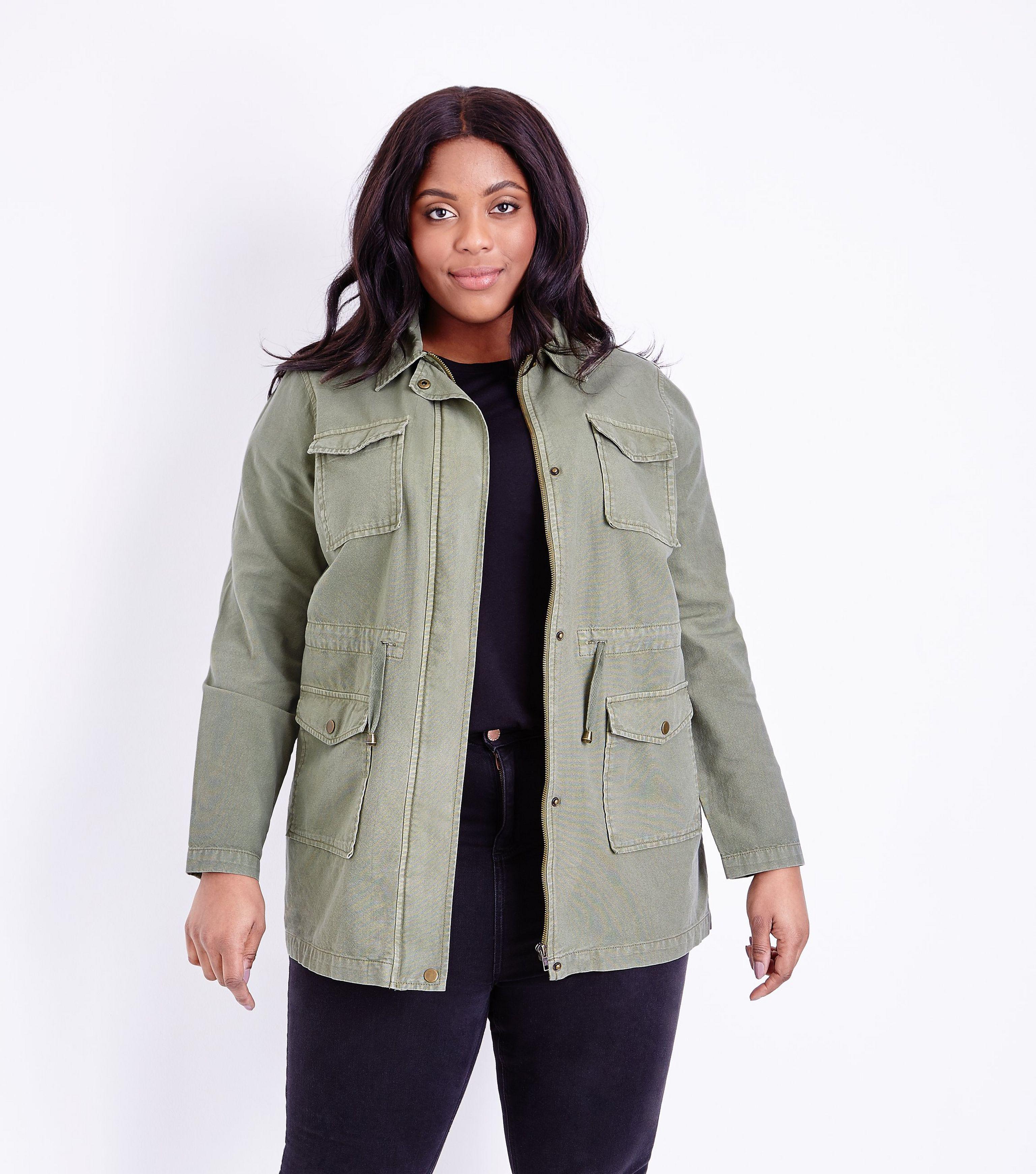 66765b1786ca New Look Curves Khaki Cotton Shacket - Lyst