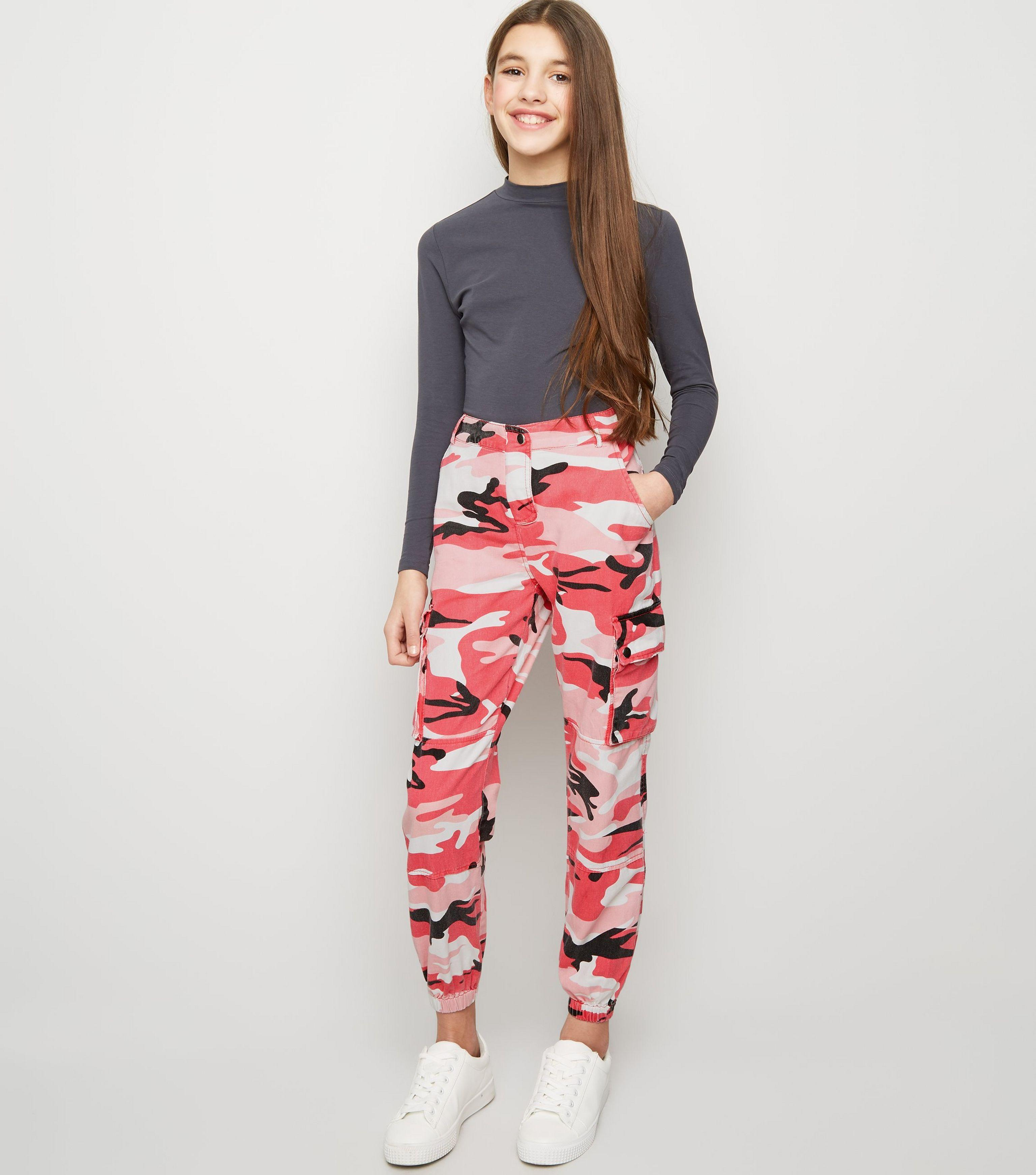 well known the latest classic chic New Look Girls Bright Pink Camo Utility Trousers