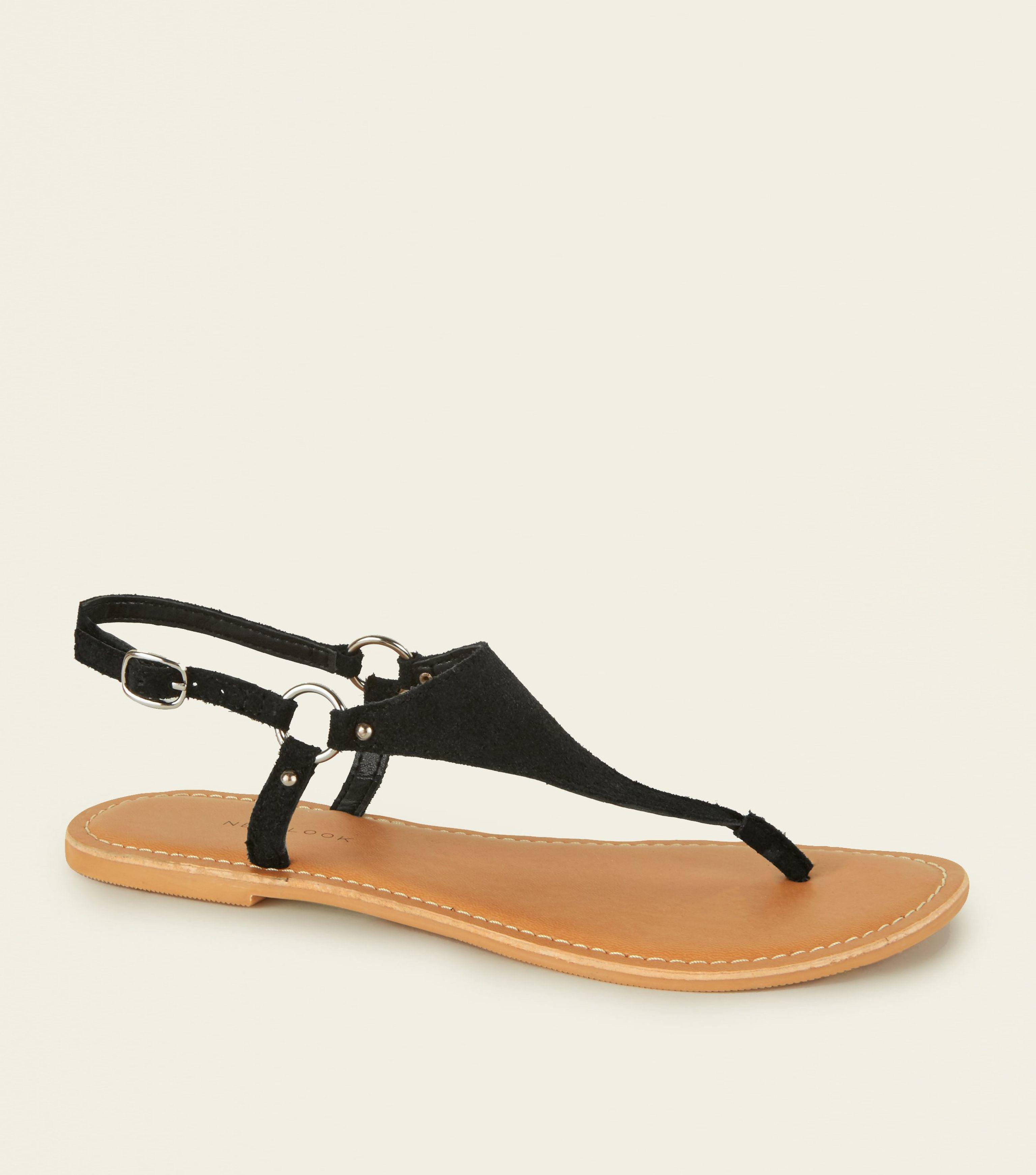 93de0e77e71 New Look Wide Fit Black Suede Flat Sandals in Black - Lyst