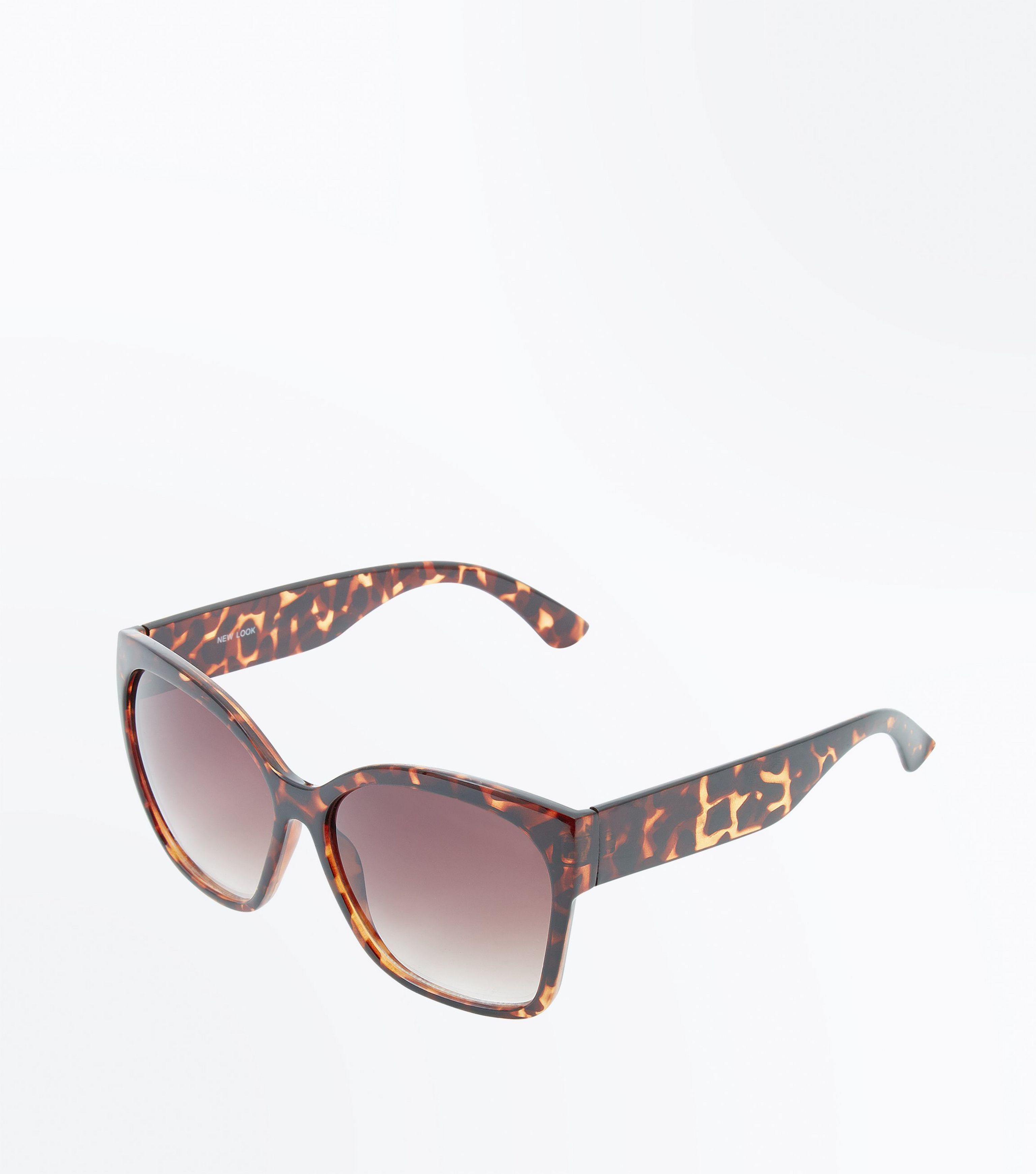 c7d942484b6 New Look Dark Brown Tortoiseshell Oversized Sunglasses in Brown - Lyst