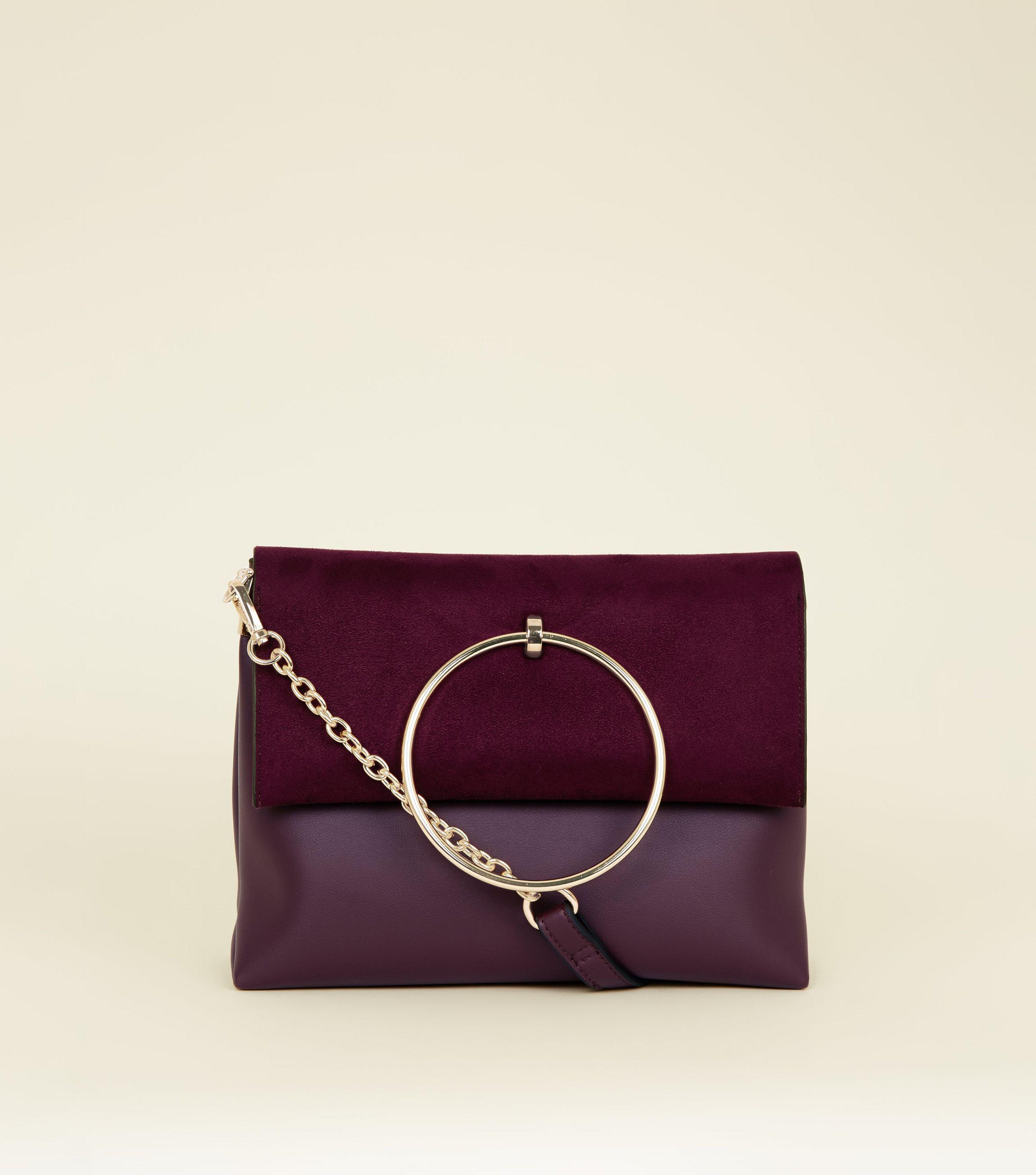 1bf1274655e9 New Look Burgundy Leather-look Ring Handle Shoulder Bag in Purple - Lyst