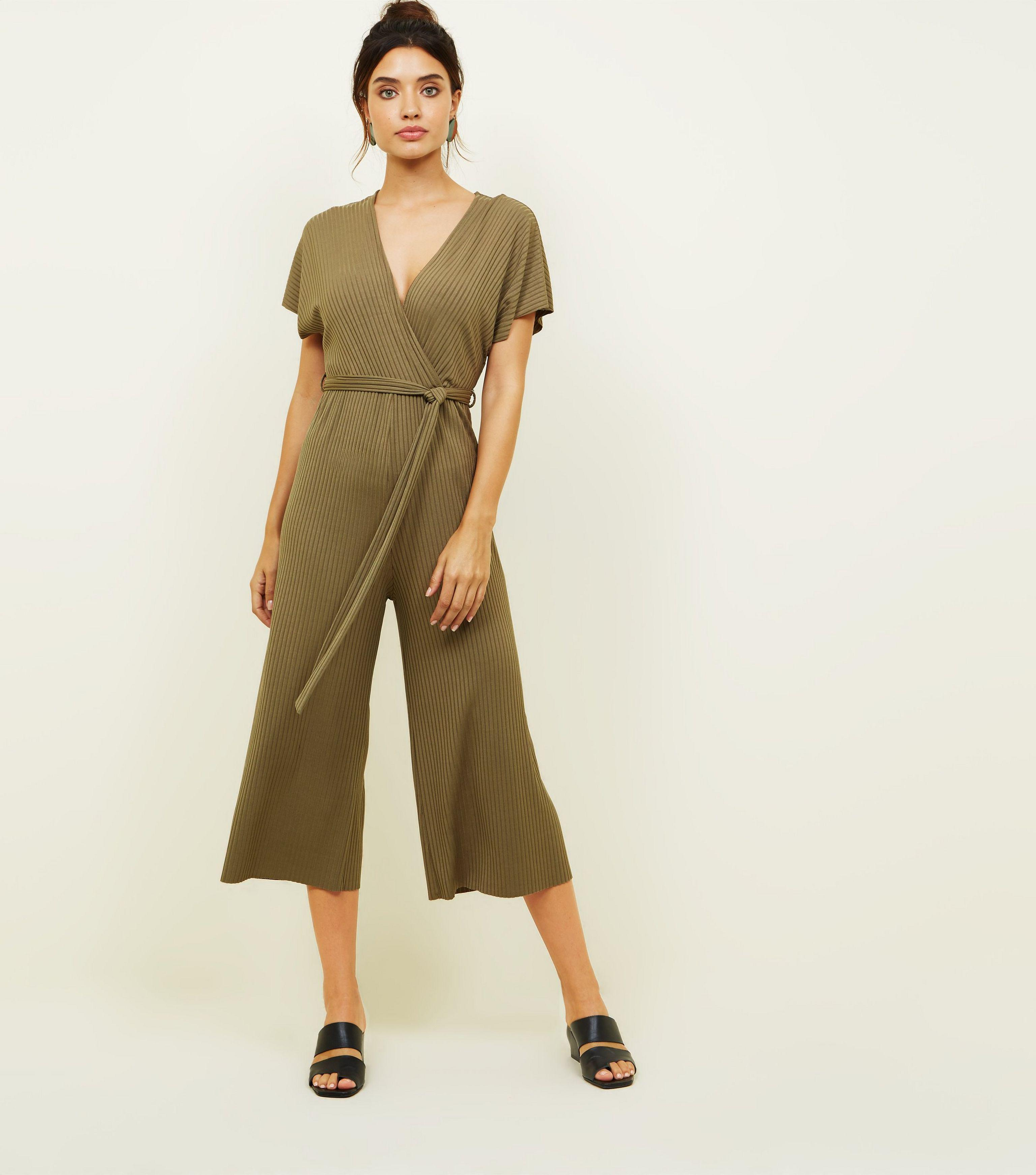 105a8e82b37 New Look Khaki Ribbed Wrap Front Culotte Jumpsuit in Natural - Lyst