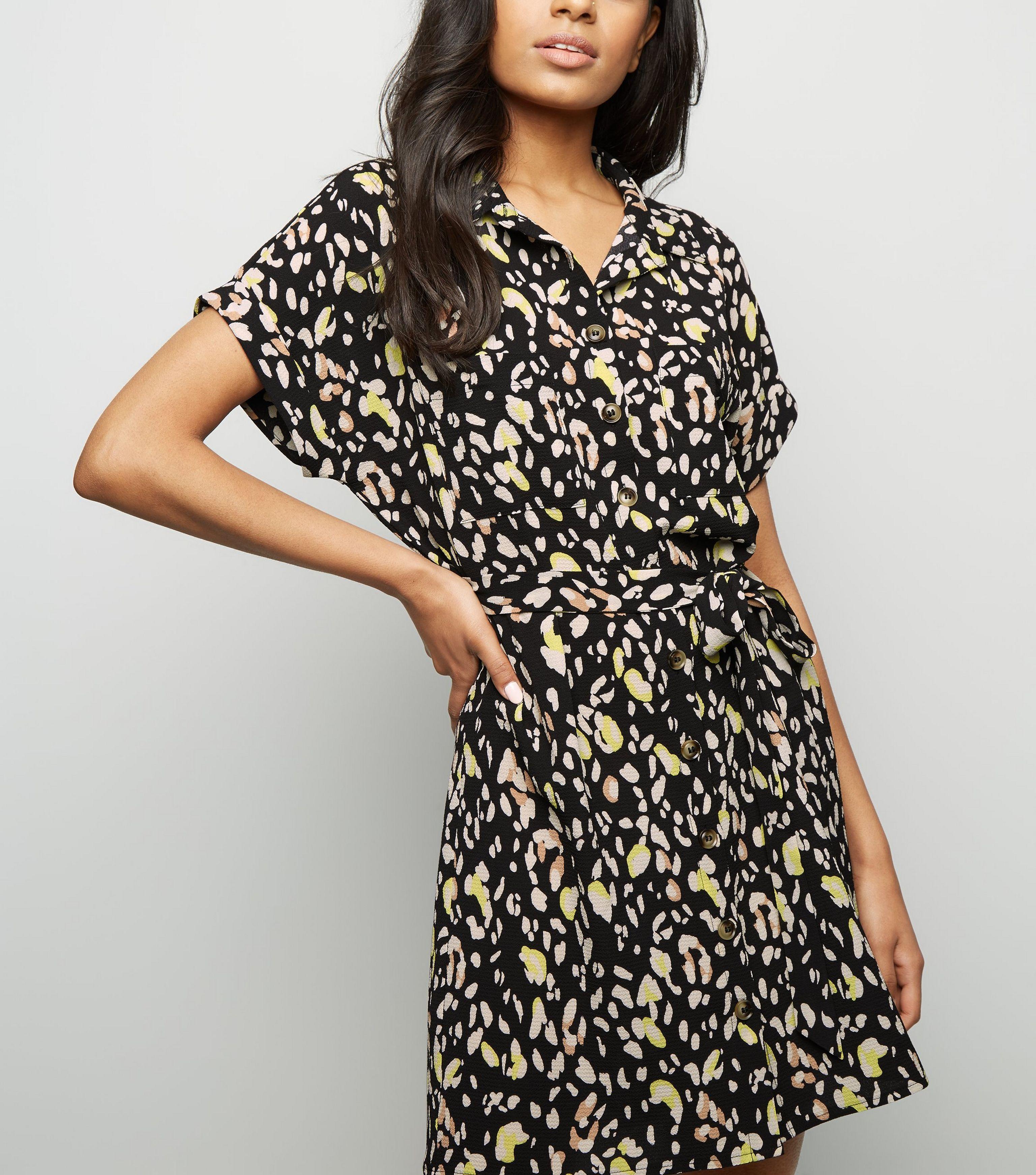 0cbdffbf91 New Look Petite Black Animal Print Shirt Dress in Black - Lyst
