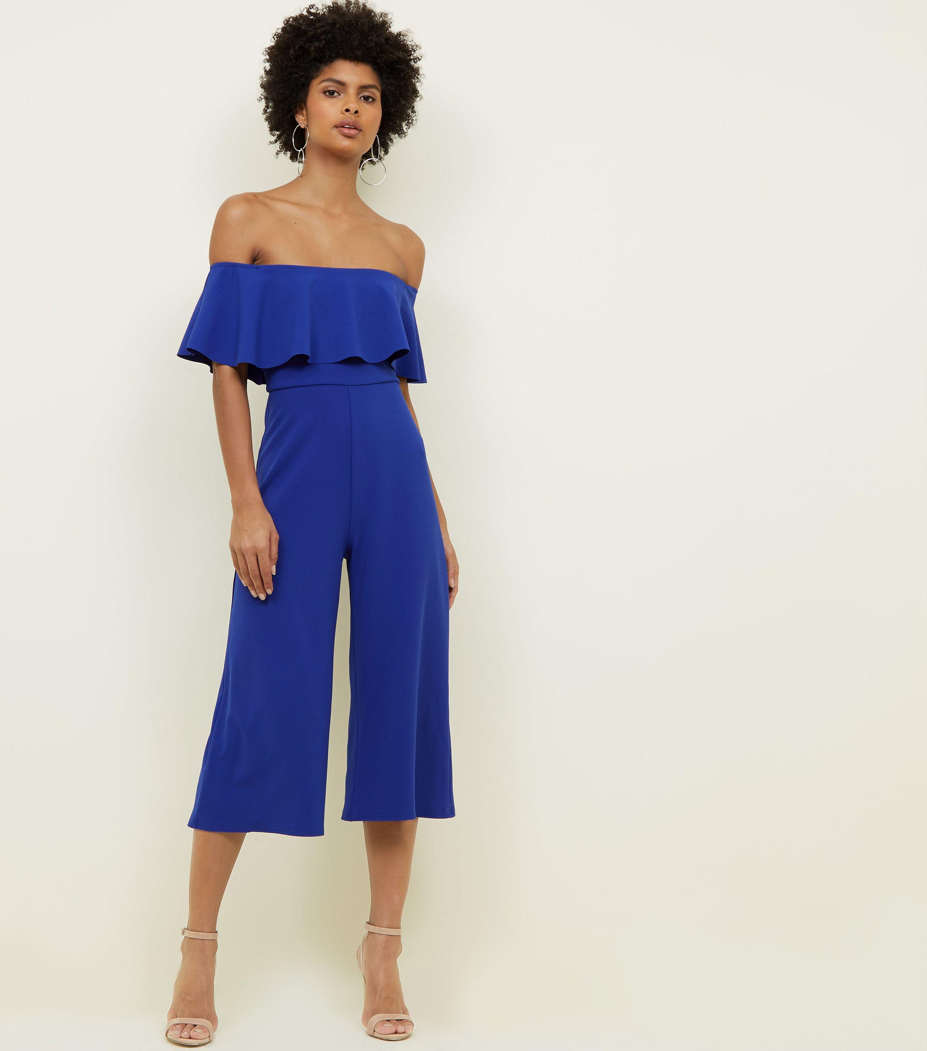 cf2e9ed5706a New Look Blue Frill Bardot Culotte Jumpsuit in Blue - Lyst