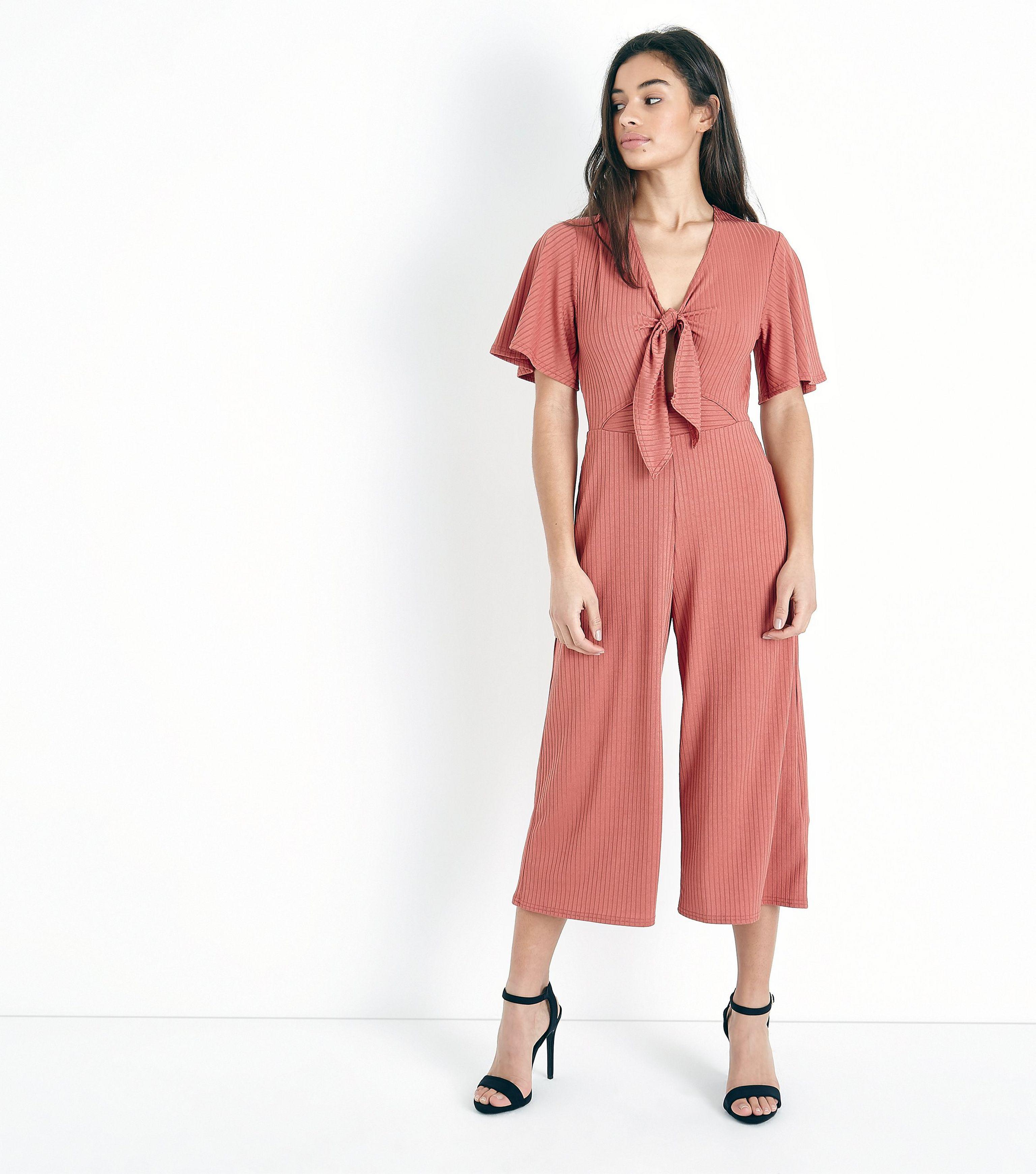 fa6b27ffb0b4 New Look Petite Rust Tie Front Ribbed Culotte Jumpsuit - Lyst