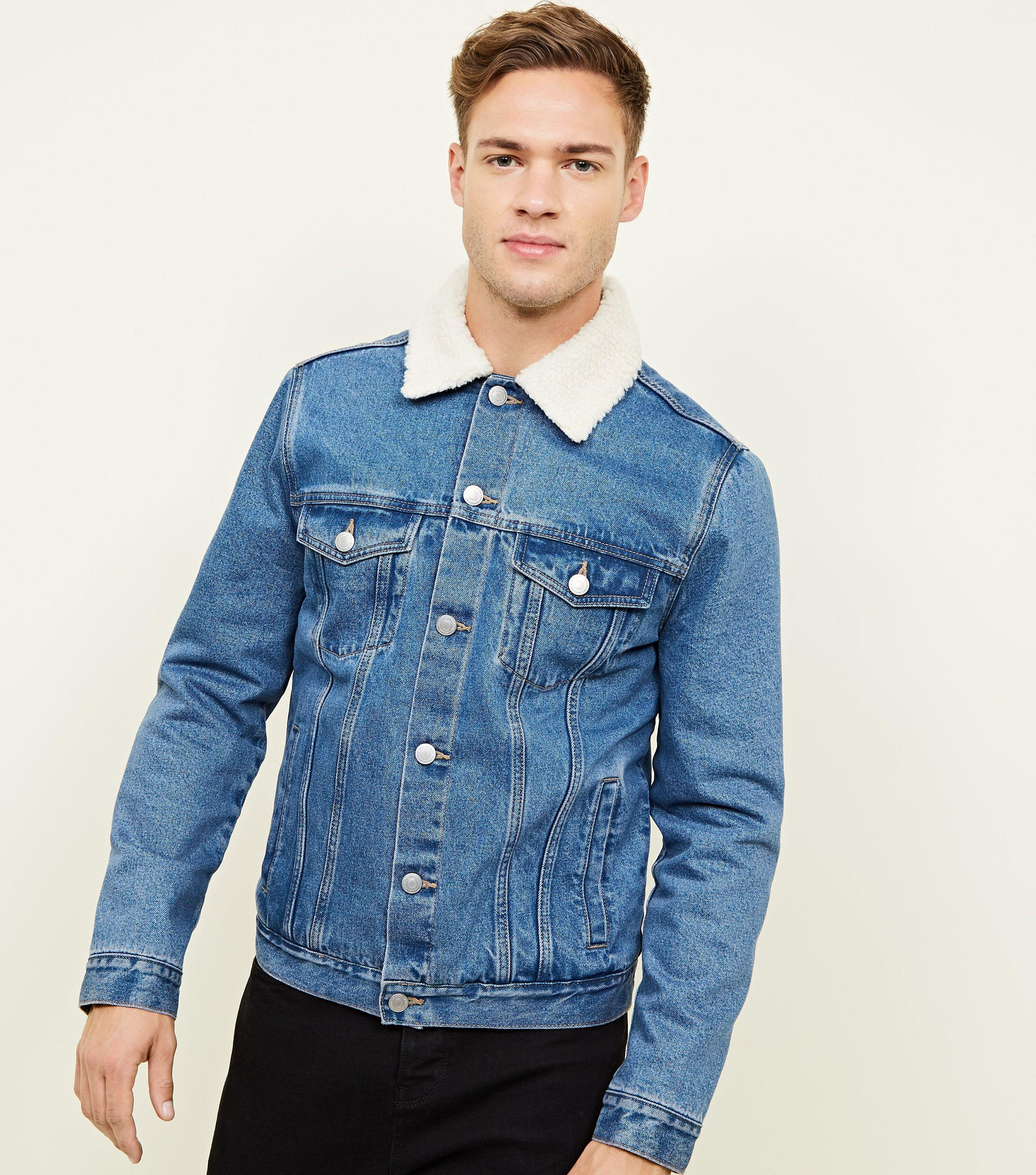 6adde1a0a48 New Look Blue Washed Borg Lined Denim Jacket in Blue for Men - Lyst