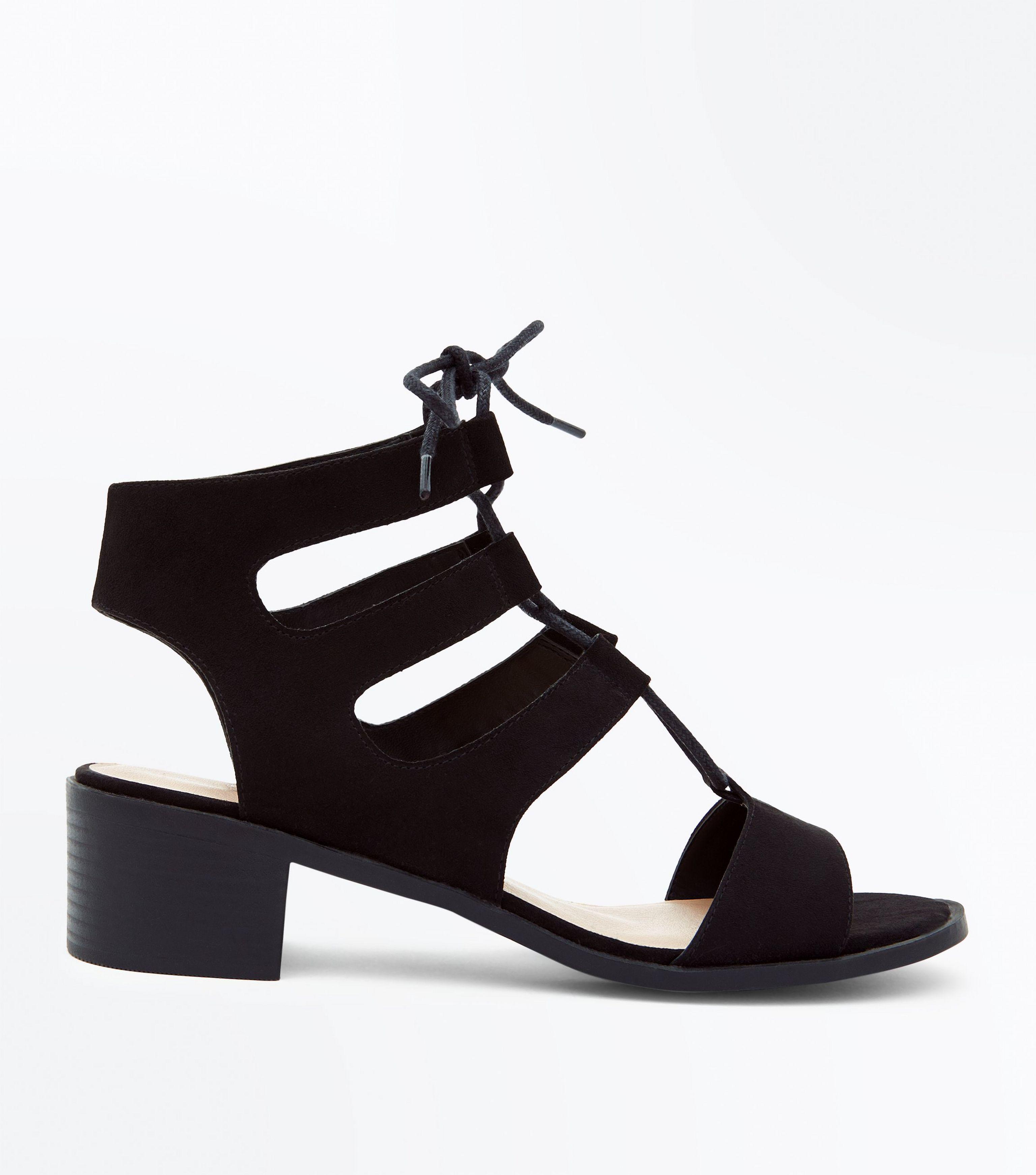 ed6df68102f6 New Look Wide Fit Black Suedette Low Heel Ghillie Sandals in Black ...