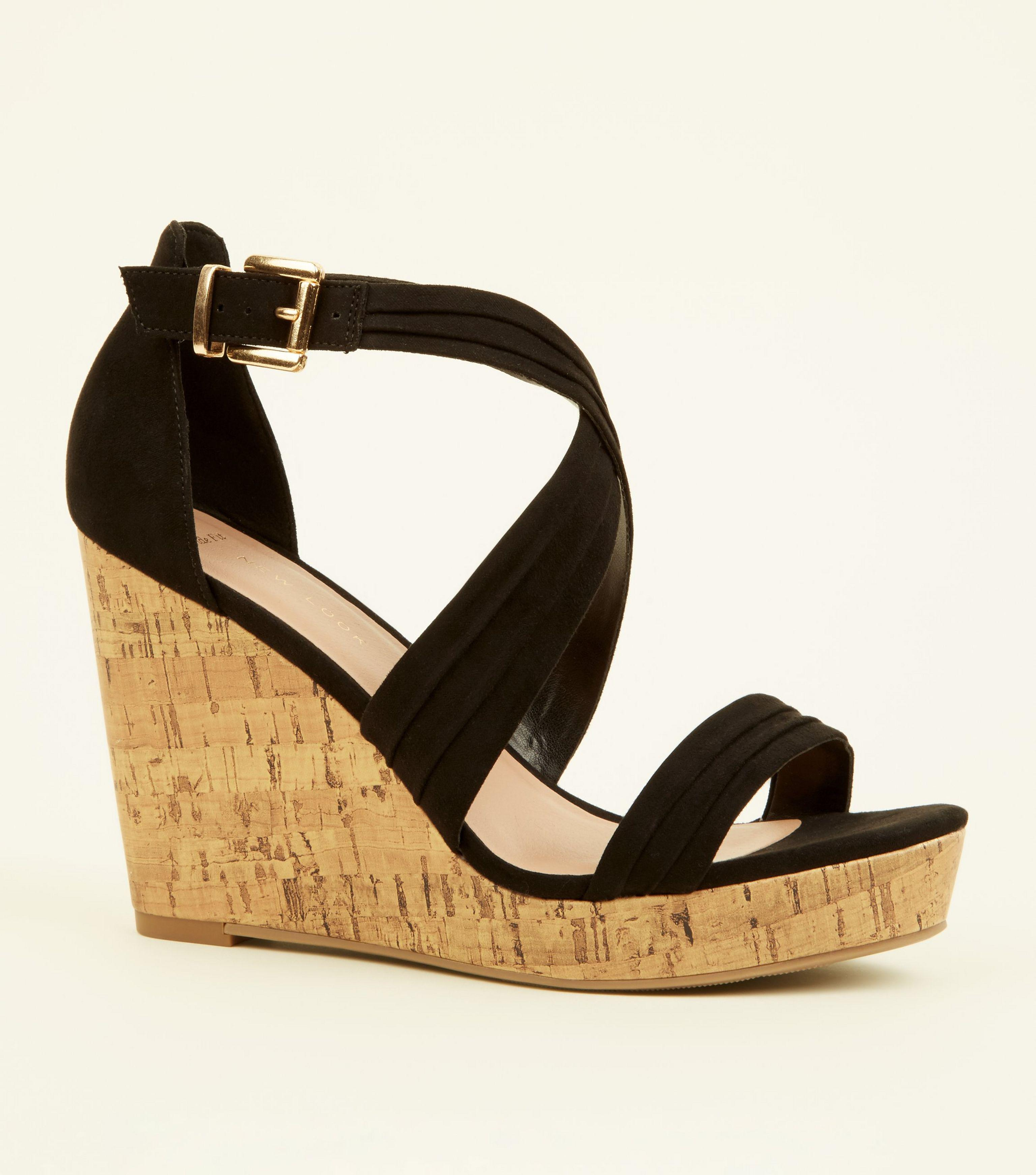 6a2b4f3c2600 New Look Wide Fit Black Suedette Cross Strap Wedges in Black - Lyst