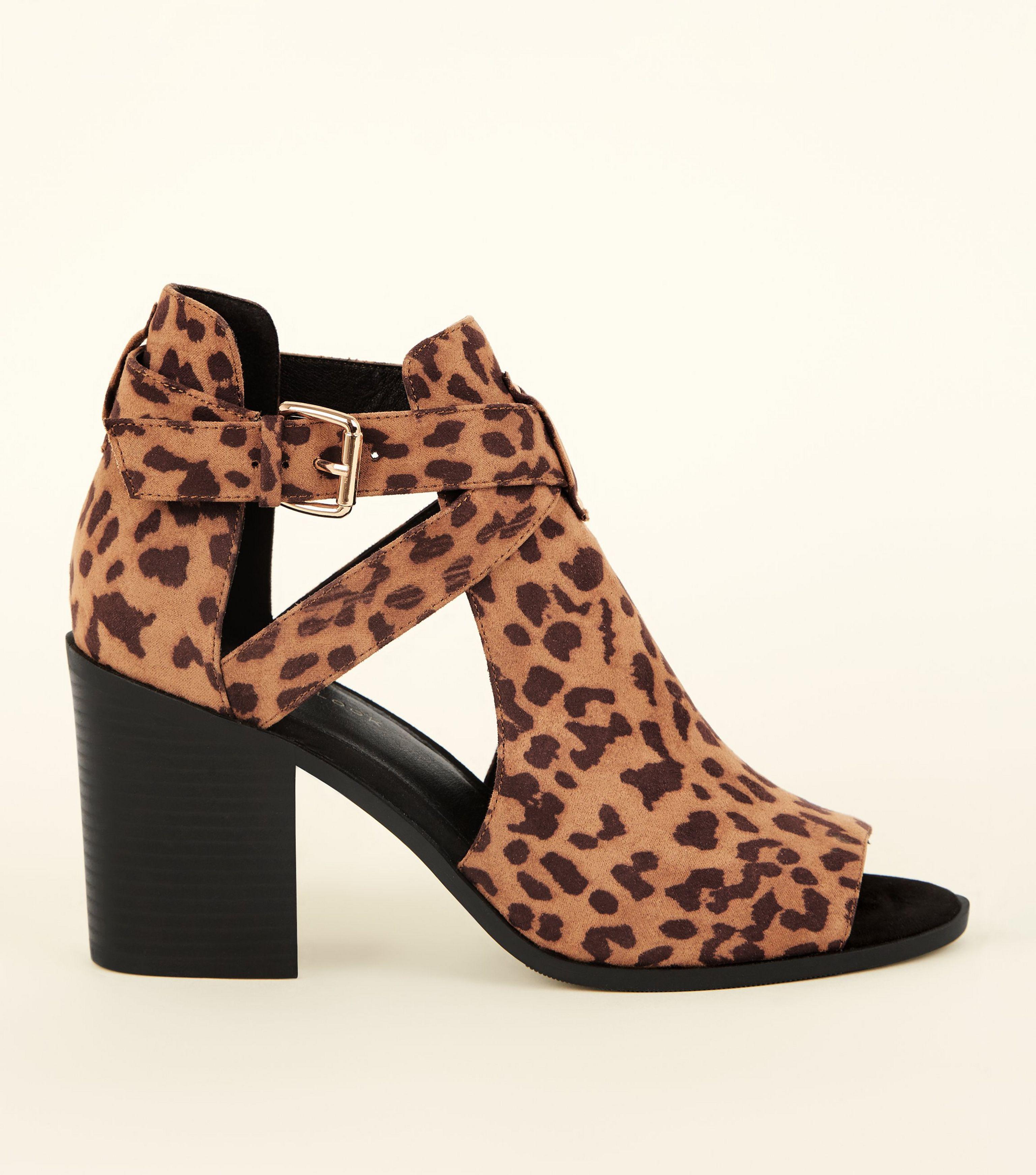 f72d133b0112 New Look Wide Fit Tan Leopard Print Peep Toe Block Heels in Brown - Lyst