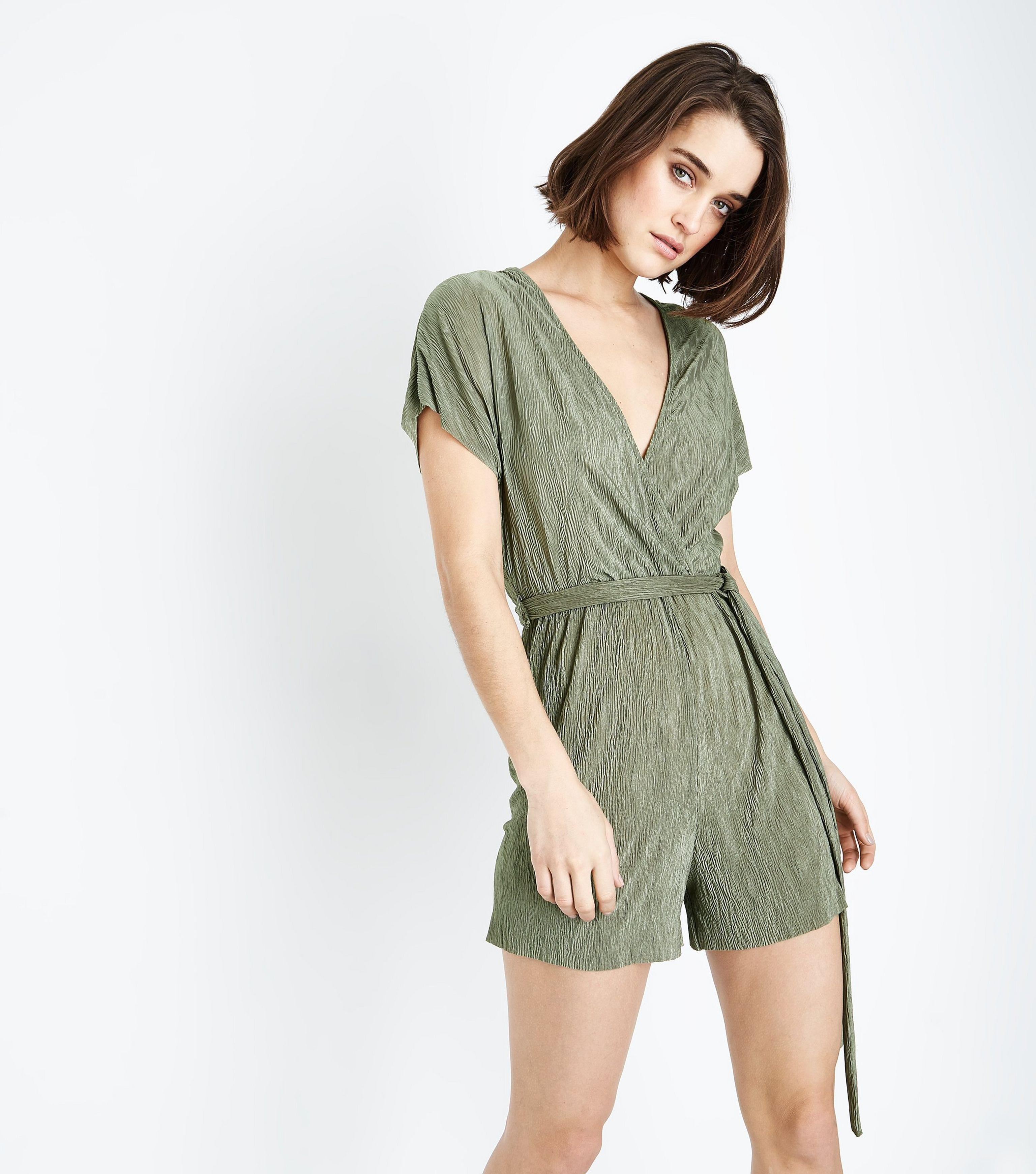 reliable reputation get new original New Look Synthetic Olive Green Plisse Wrap Front Playsuit - Lyst