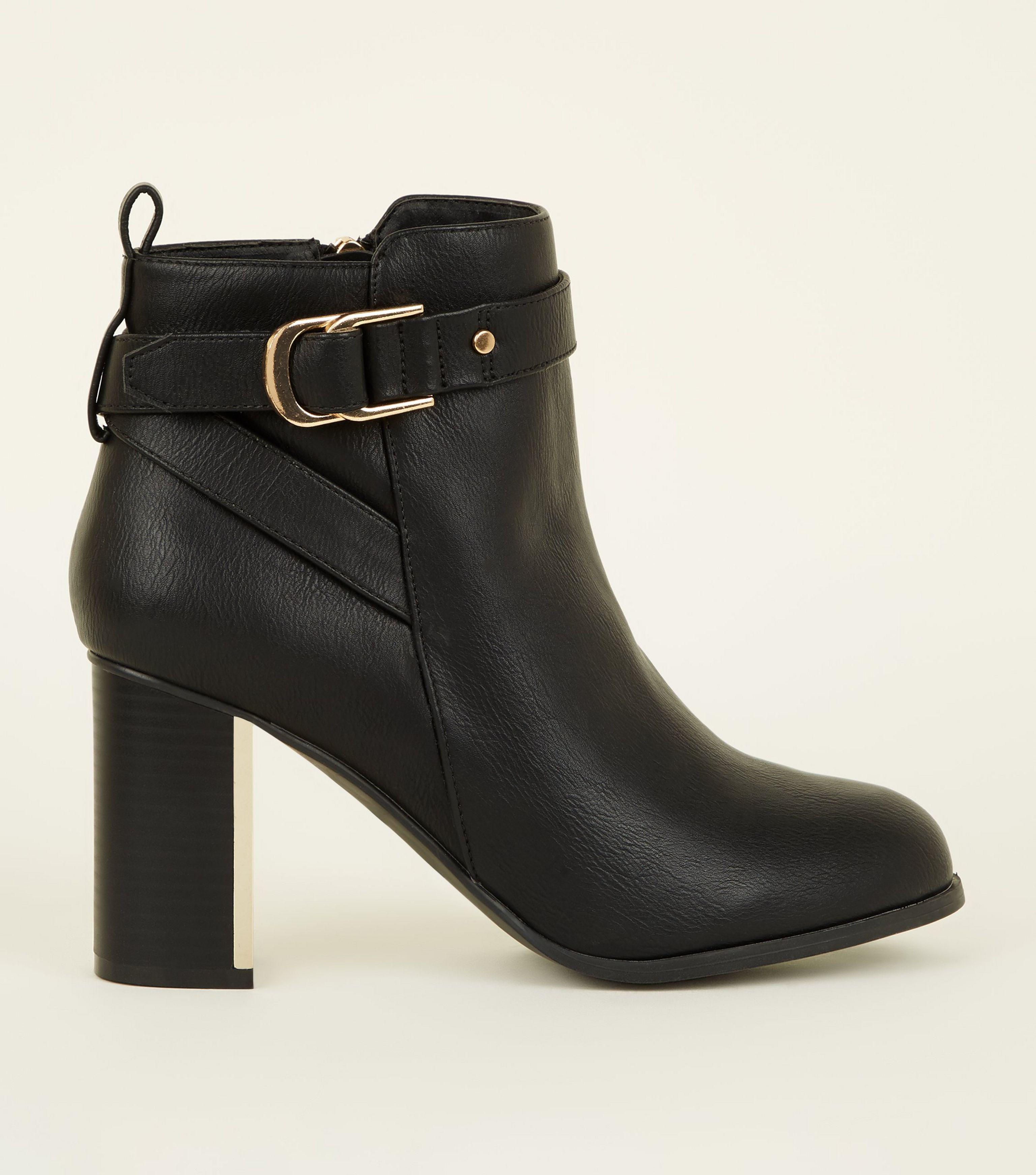 4248a2d728e1 New Look Wide Fit Black Metal Block Heel Ankle Boots in Black - Lyst