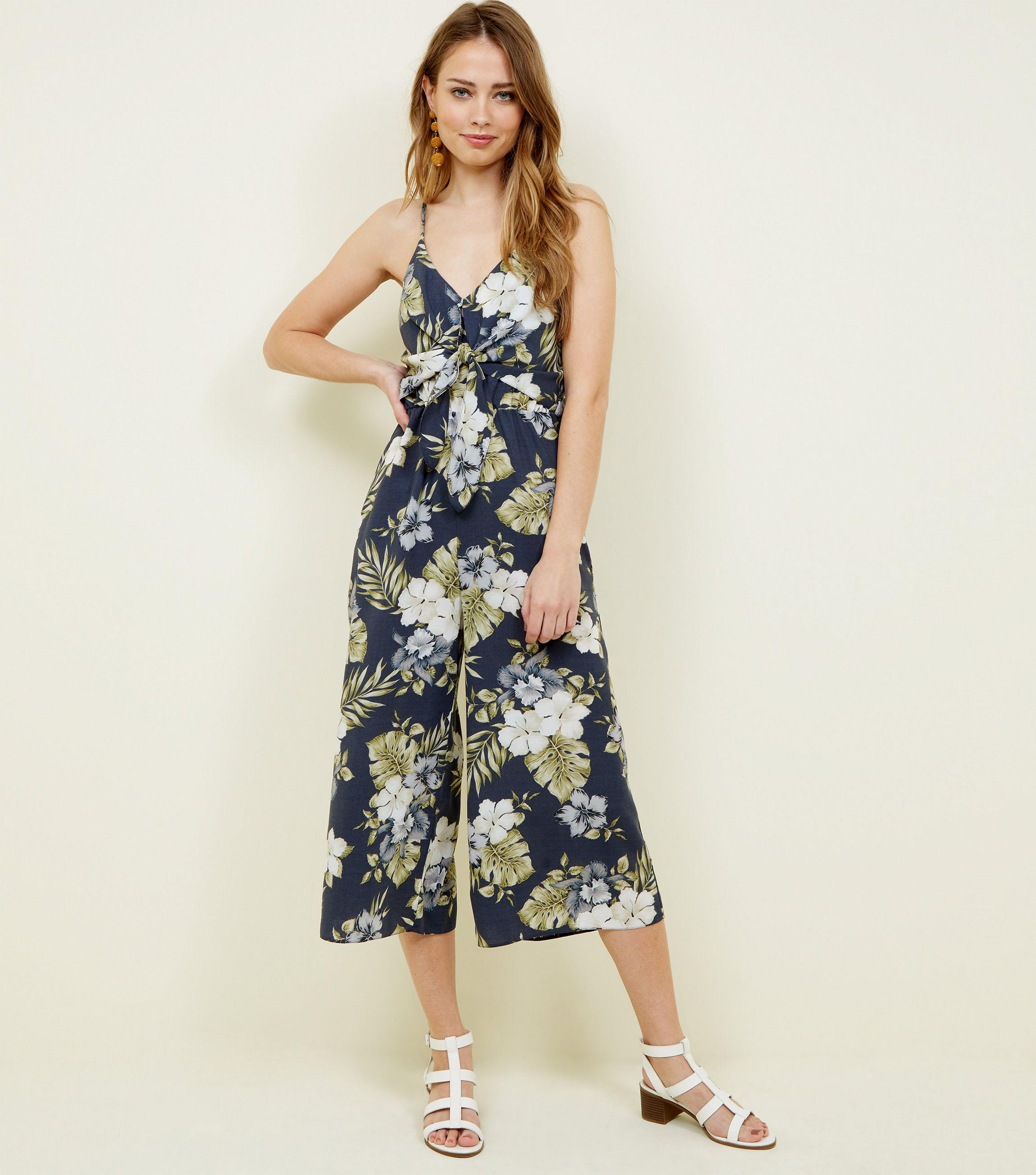 a5b50df313 New Look Navy Tropical Print Tie Front Culotte Jumpsuit in Blue - Lyst