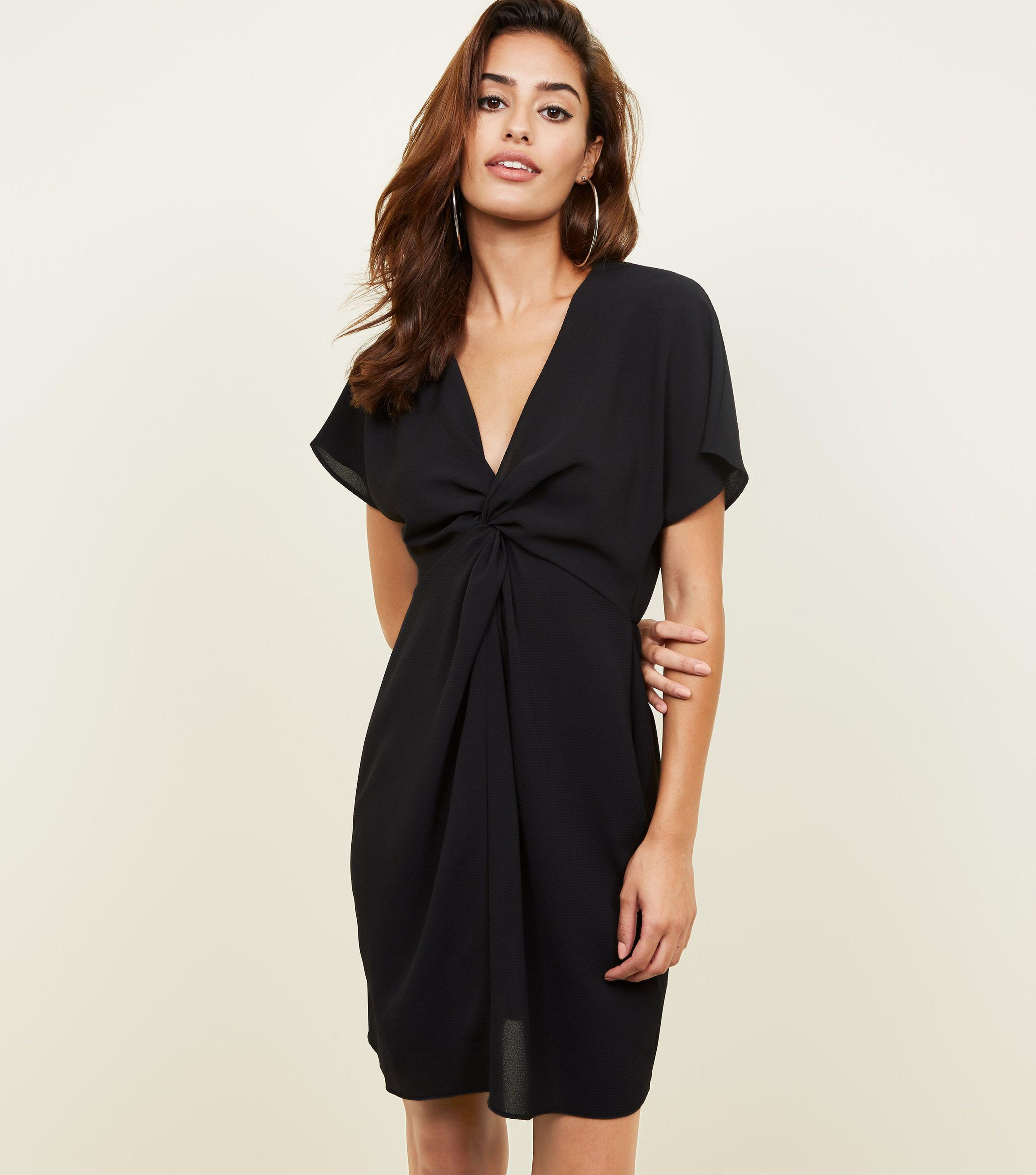 d9ea964ff1 New Look Black Batwing Sleeve Twist Front Dress in Black - Lyst