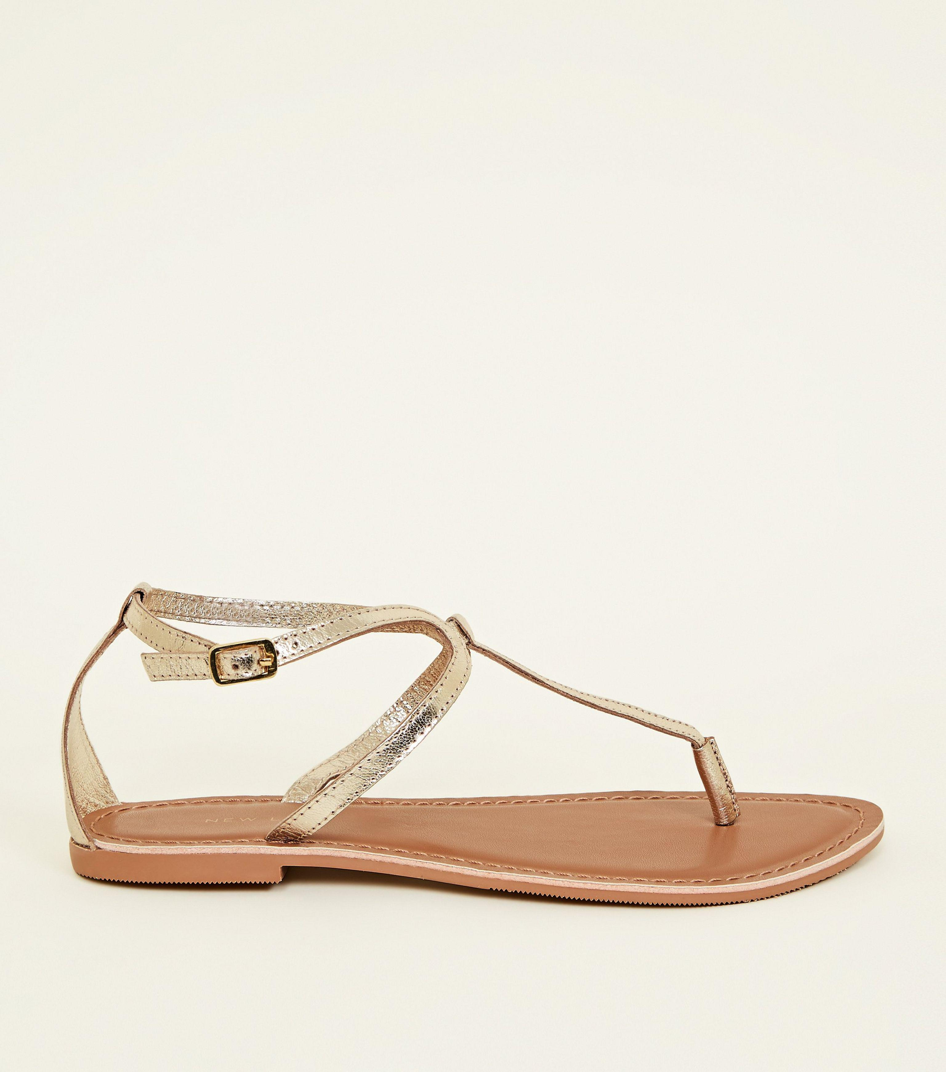 a611bfc3381 New Look Wide Fit Gold Leather Flat Sandals in Metallic - Lyst