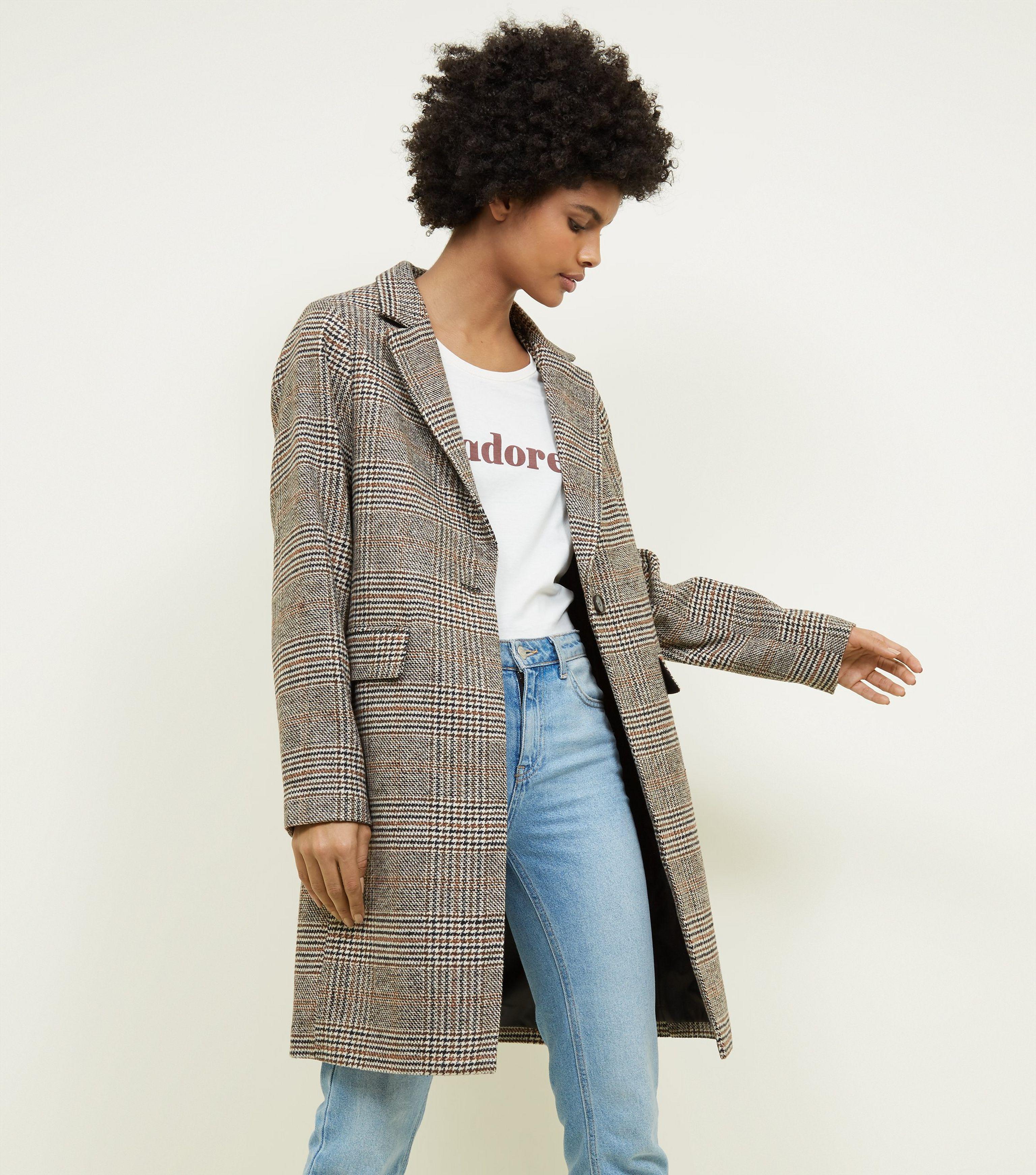 407c395179ef New Look Tan Check Revere Collar Coat in Brown - Lyst
