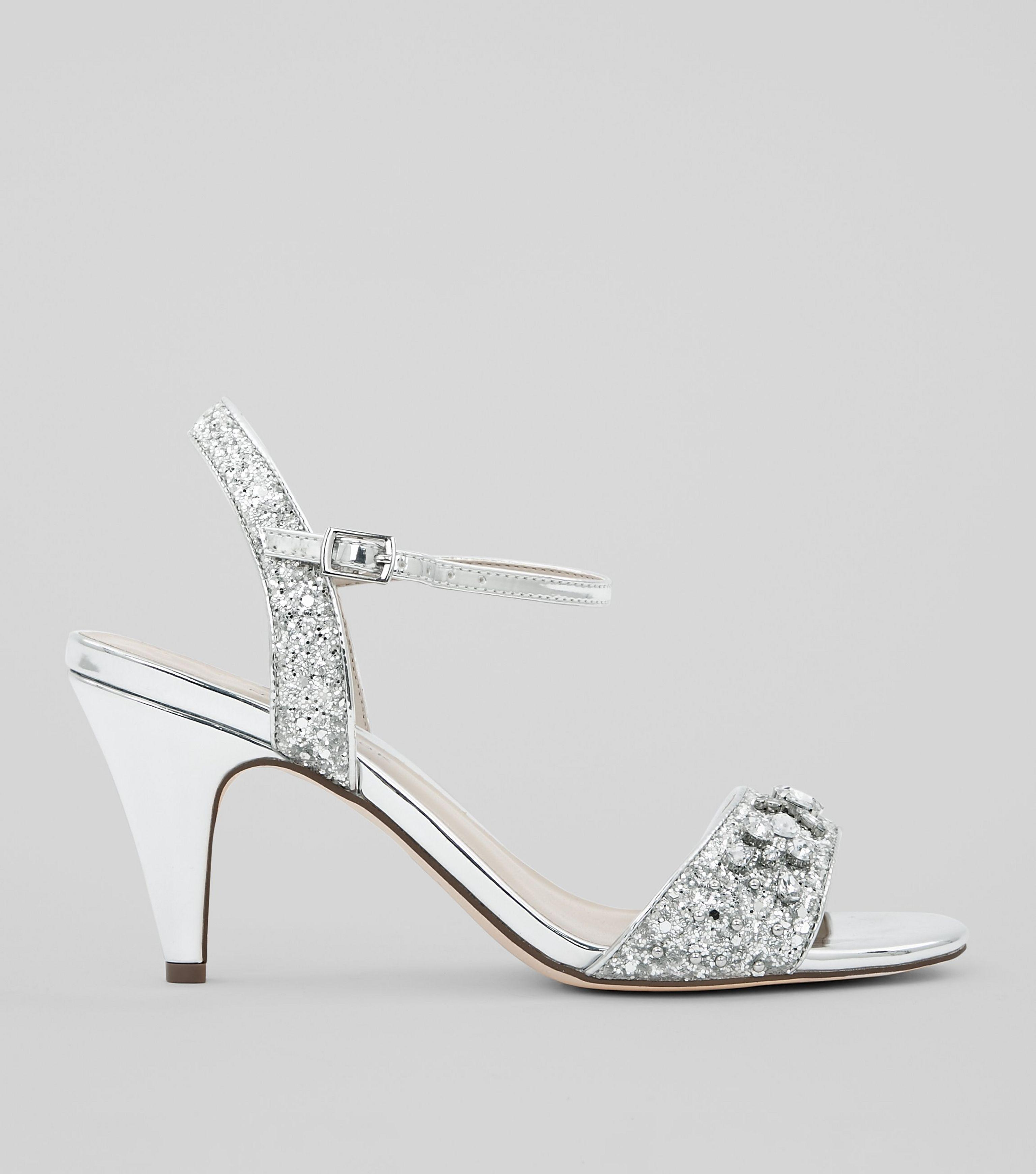 b18d36b7a35 New Look Wide Fit Silver Diamante Embellished Cone Heels in Metallic ...