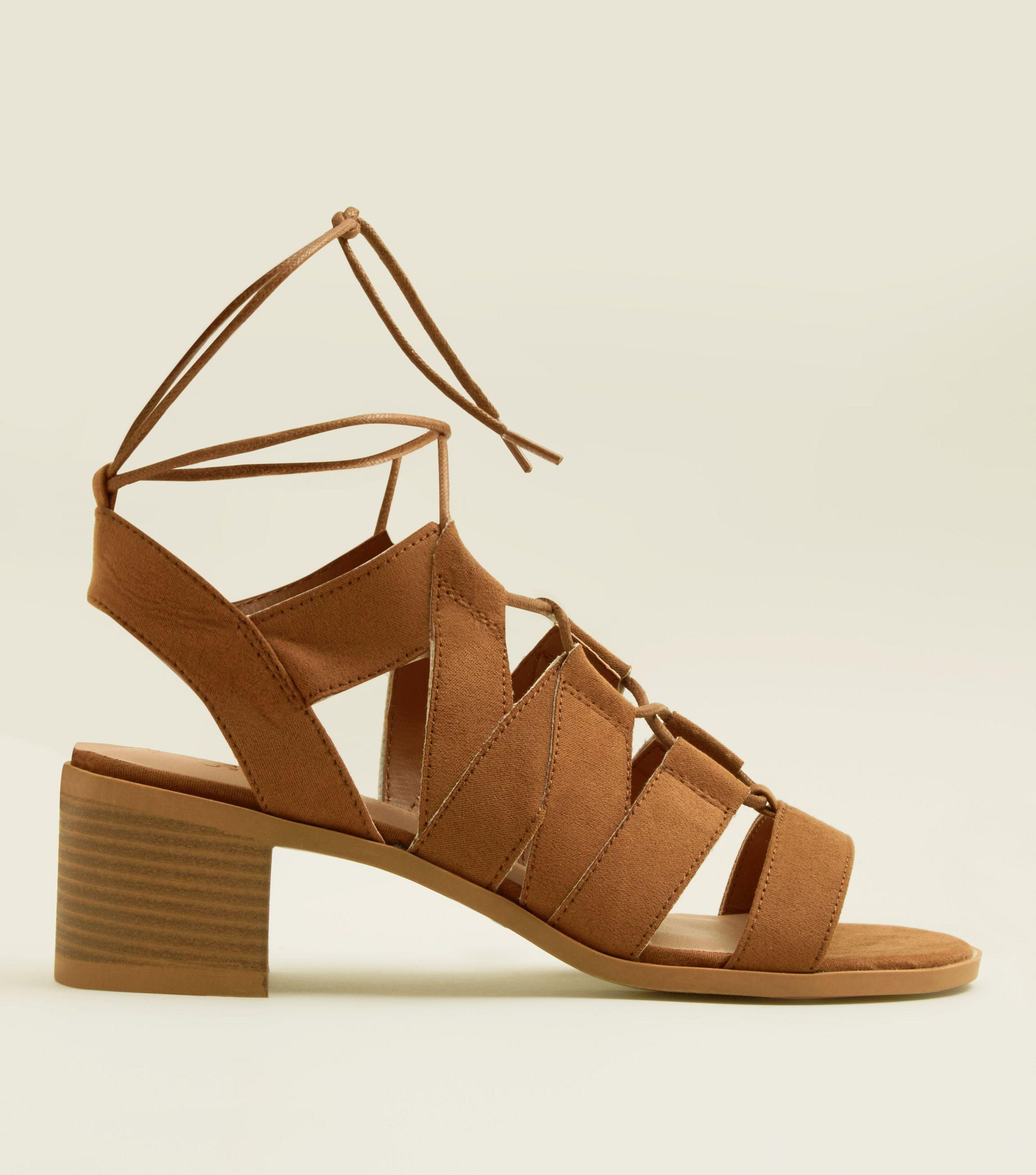 5d3cb6ab29e New Look Girls Tan Suedette Block Heel Gladiator Sandals in Brown - Lyst