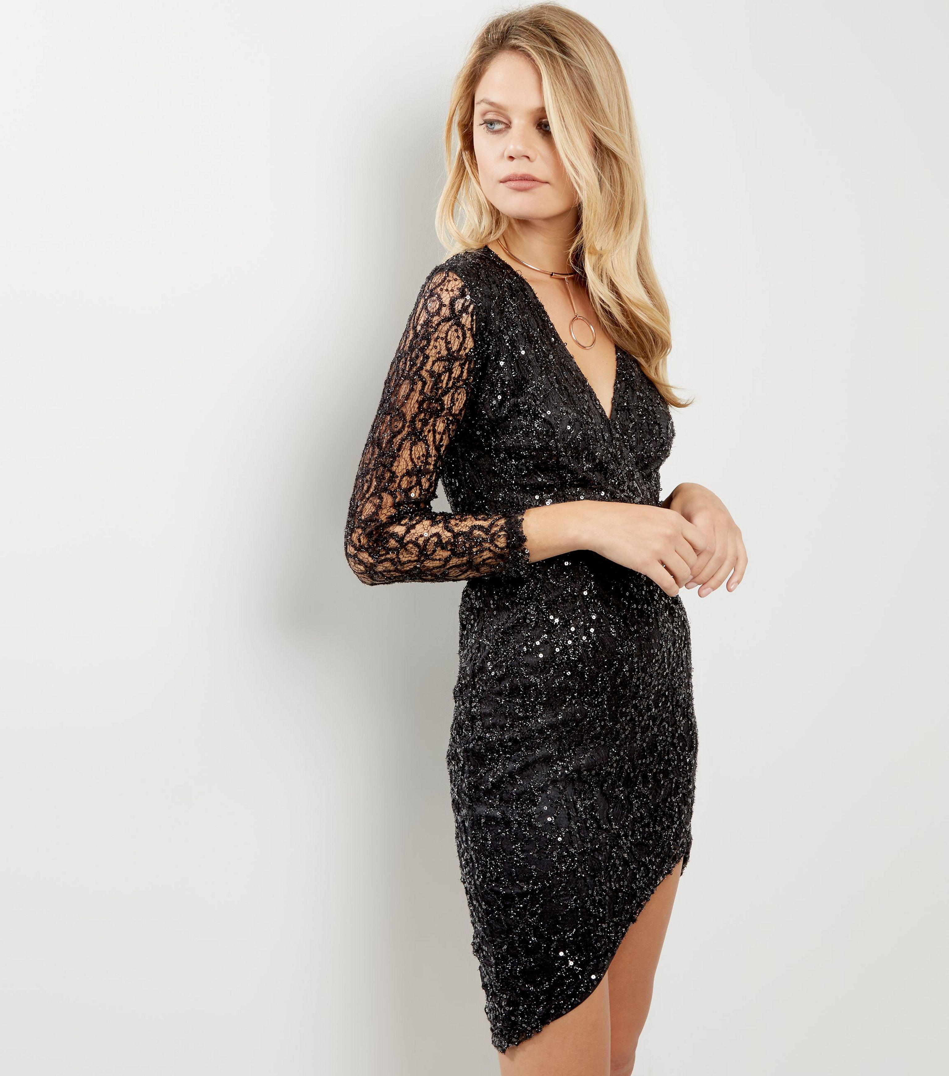 cced23dcf7e3 AX Paris Black Plunge V Neck Sequin Dress in Black - Lyst