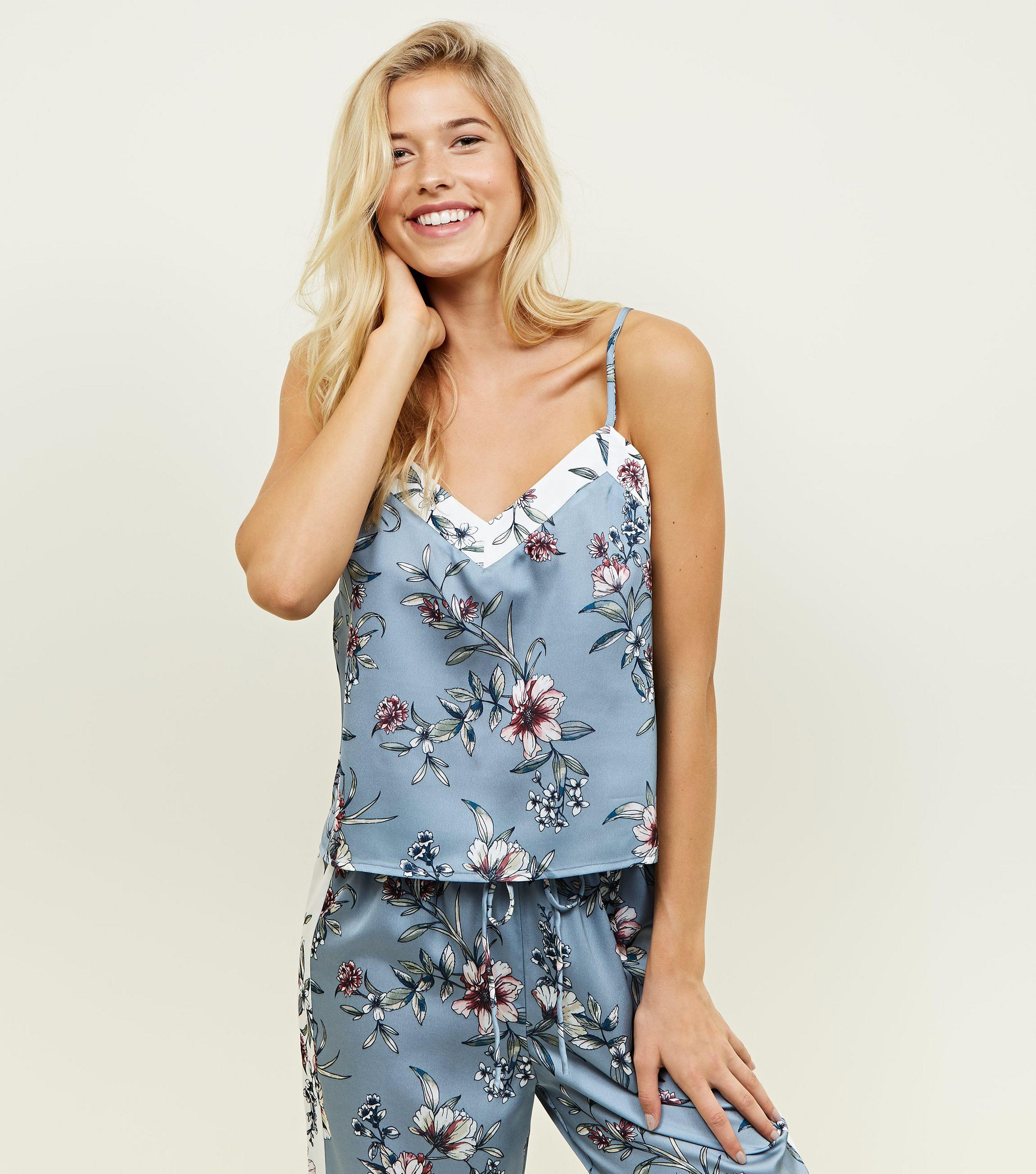 18fff84c New Look Nicola Blue Floral Satin Pyjama Cami in Blue - Lyst