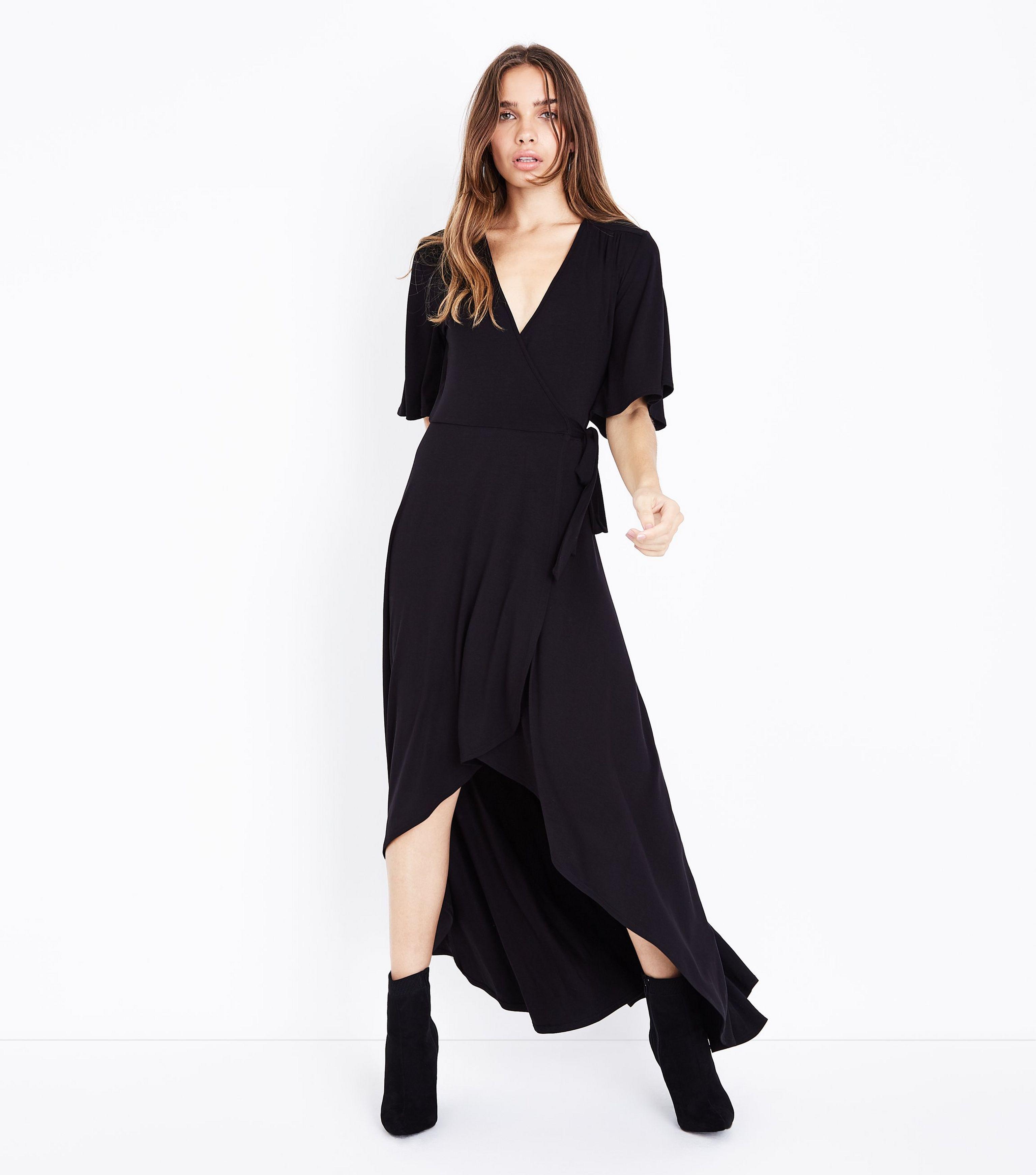 e6ecf83c936 New Look Black Wrap Front Dip Hem Jersey Maxi Dress in Black - Lyst