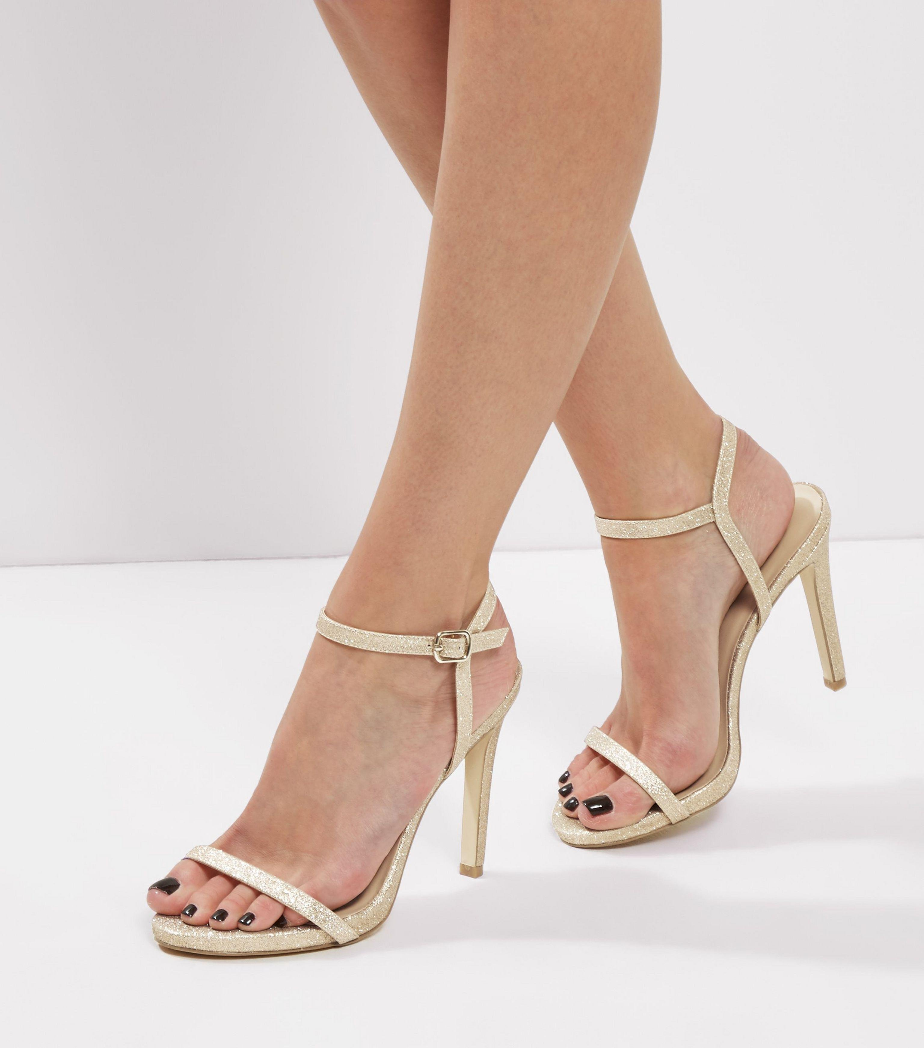 596e93ffcb New Look Gold Glitter Ankle Strap Heeled Sandals in Metallic - Lyst