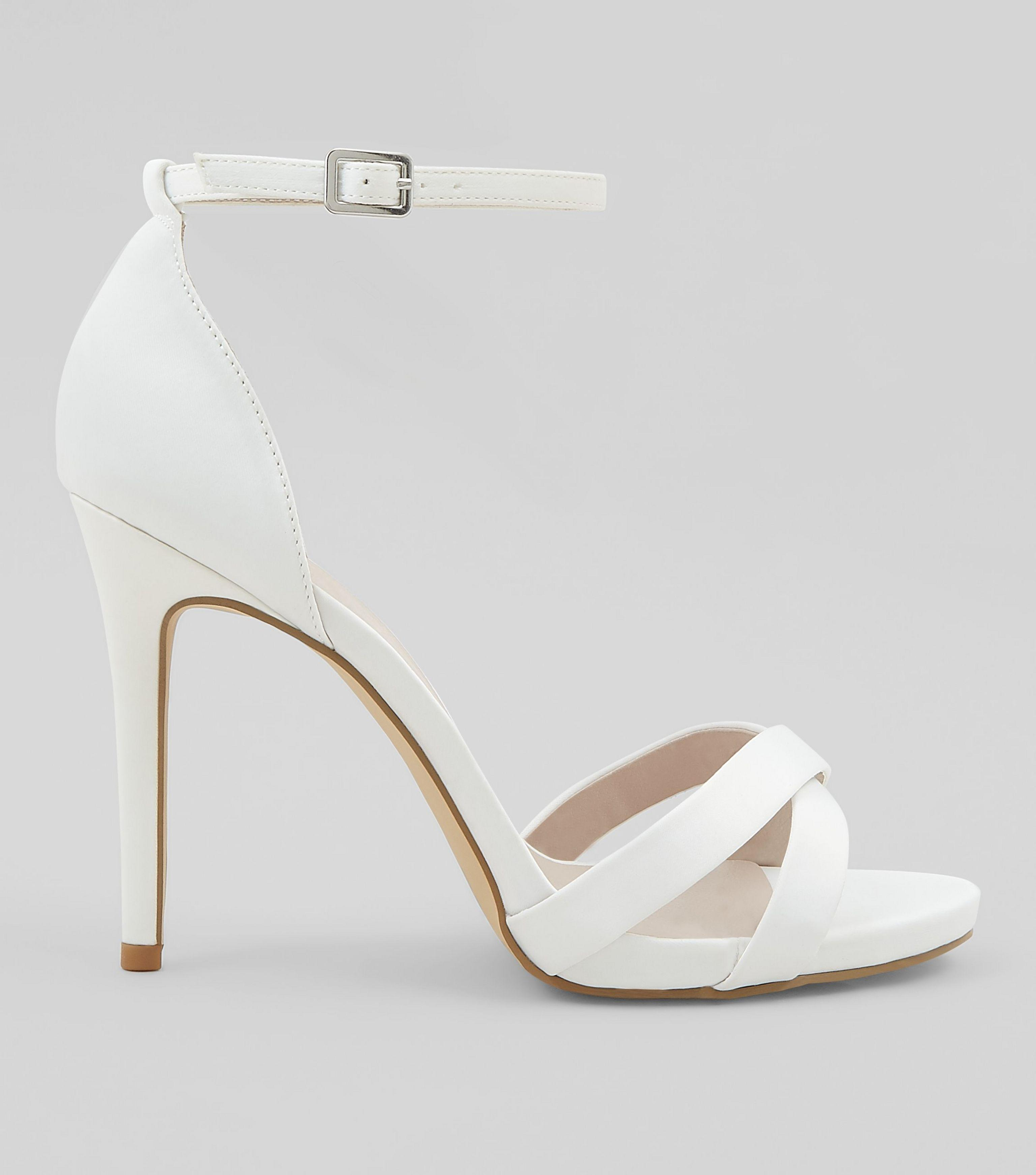 exclusive deals official images online shop Women's Wide Fit White Sateen Cross Strap Heeled Sandals