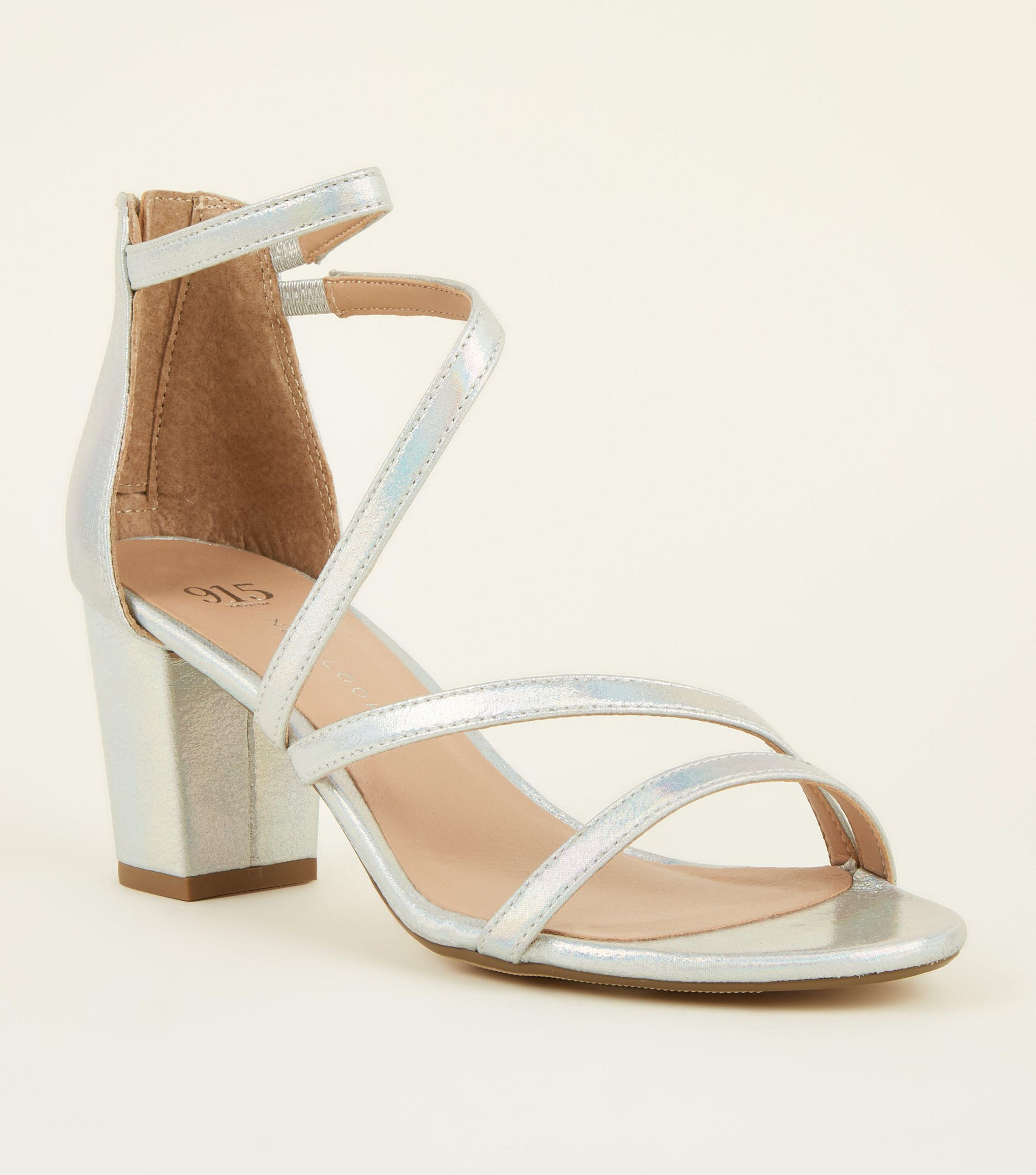 f21727fc1ce New Look Girls Silver Holographic Strappy Block Heeks in Metallic - Lyst