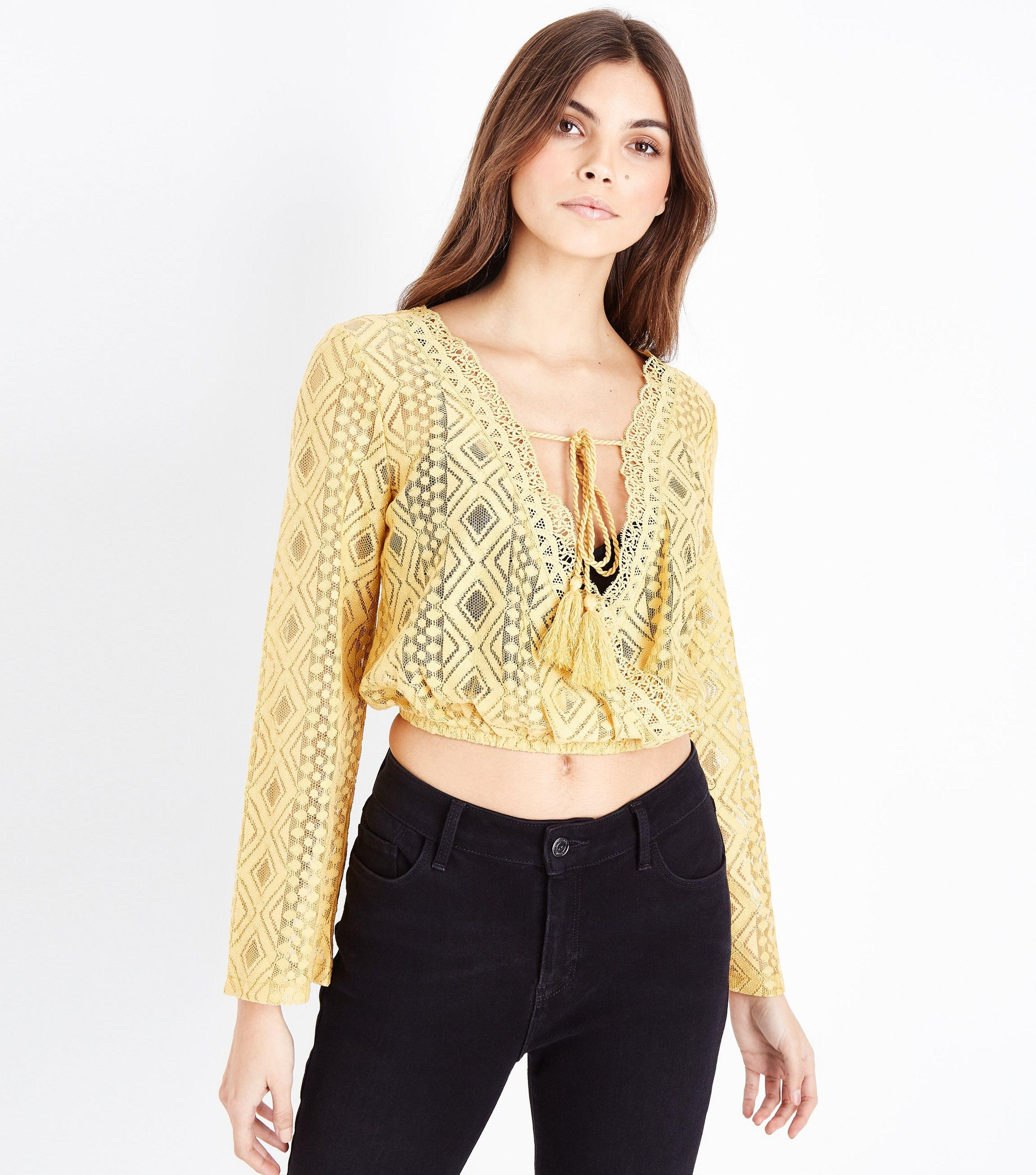 Free Shipping Big Sale New Look Lace Tassel Front Crop Top High Quality Sale Online vDmxwU8YNS